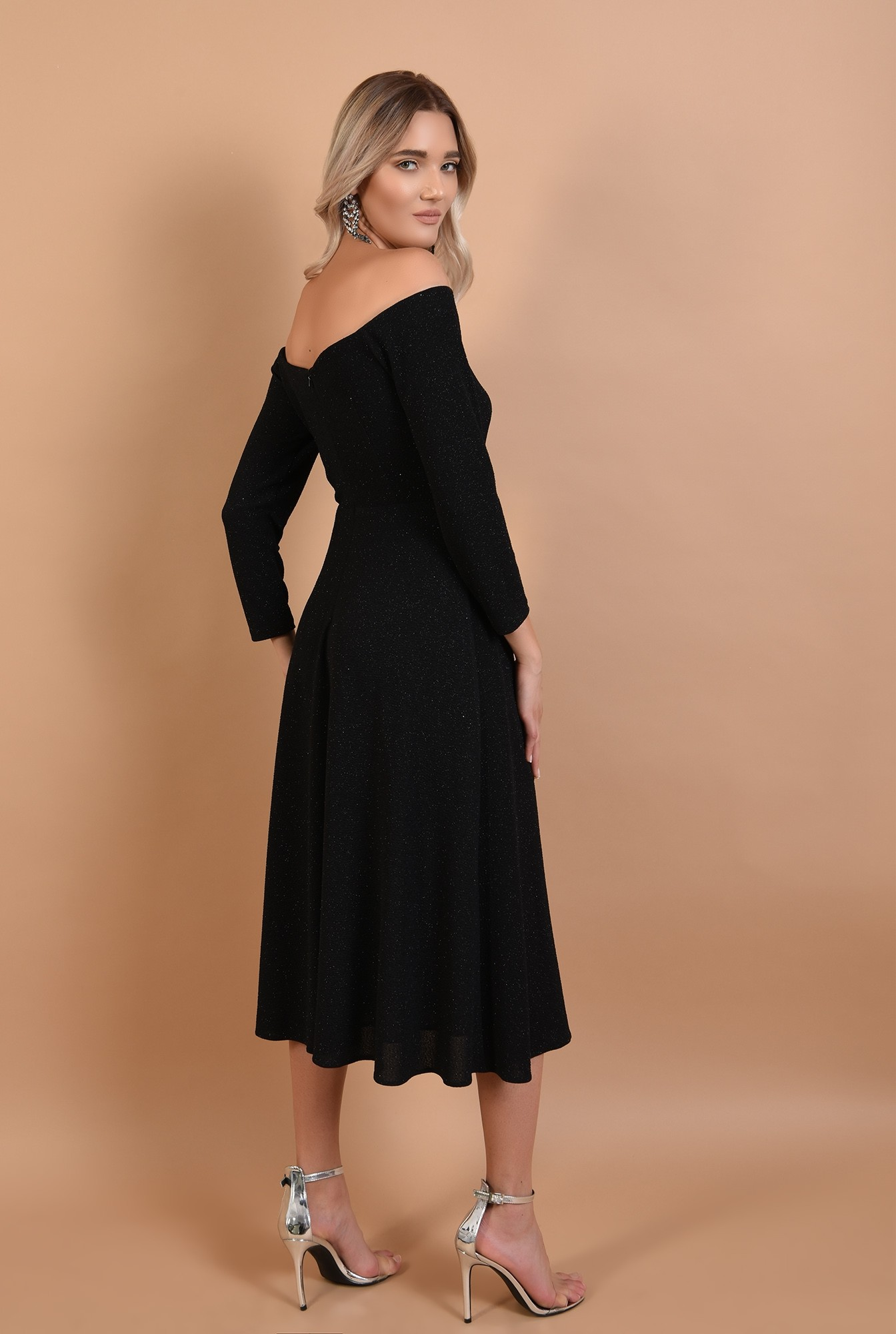 1 - rochie de seara, neagra, Poema, midi, glitter, maneci lungi