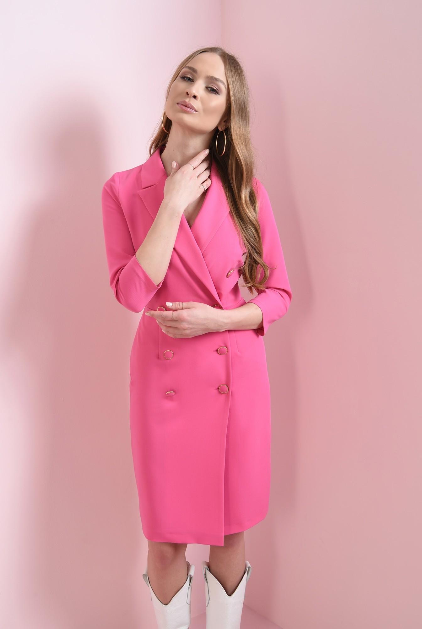 0 - rochie midi, roz, cu nasturi