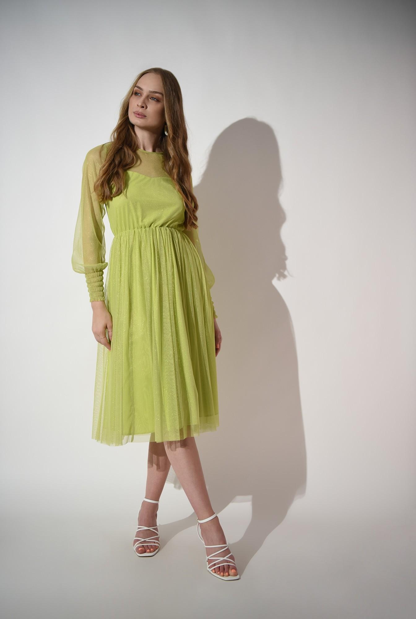 1 - rochie verde, eleganta, stransa la talie