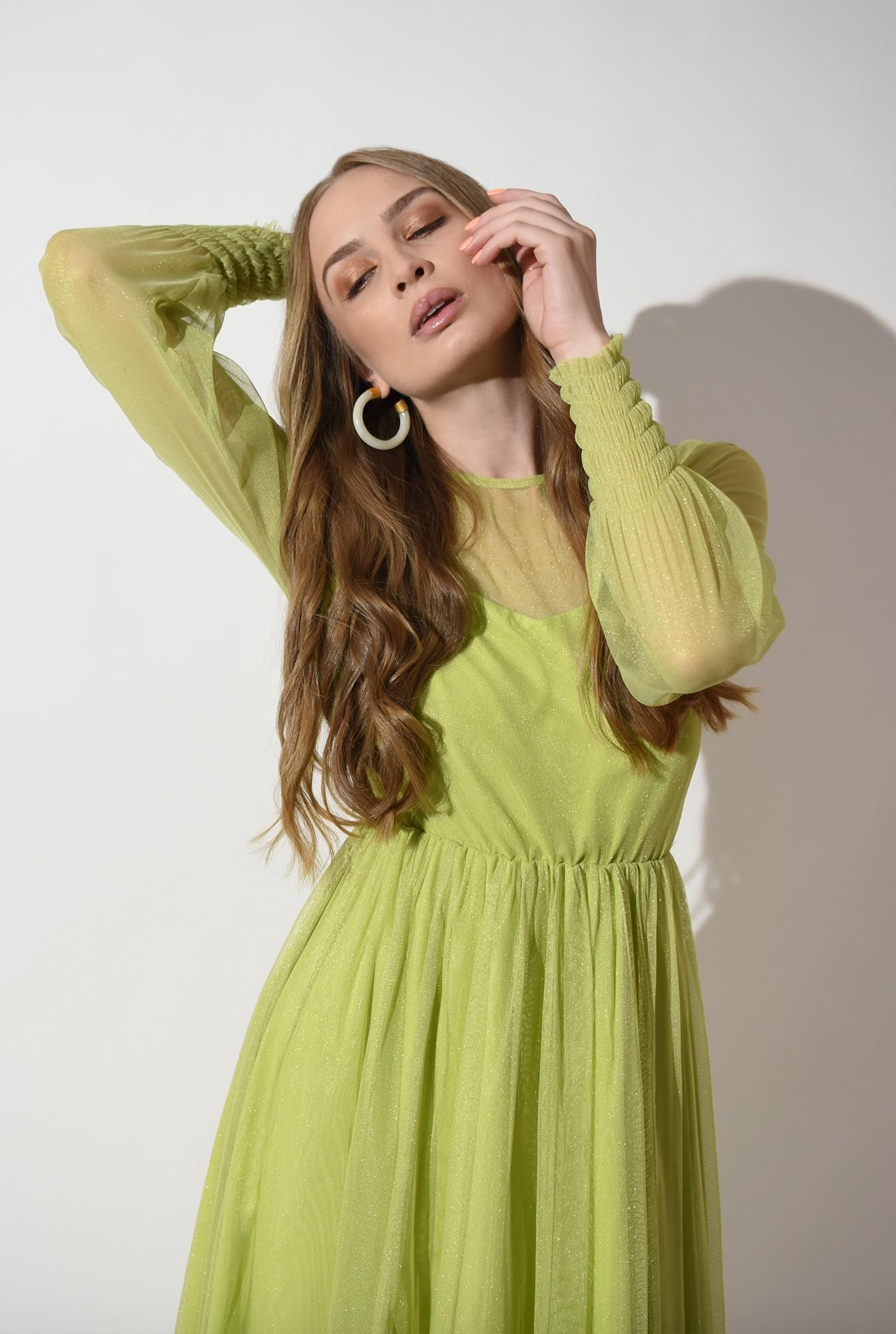 2 - rochie verde, eleganta, stransa la talie