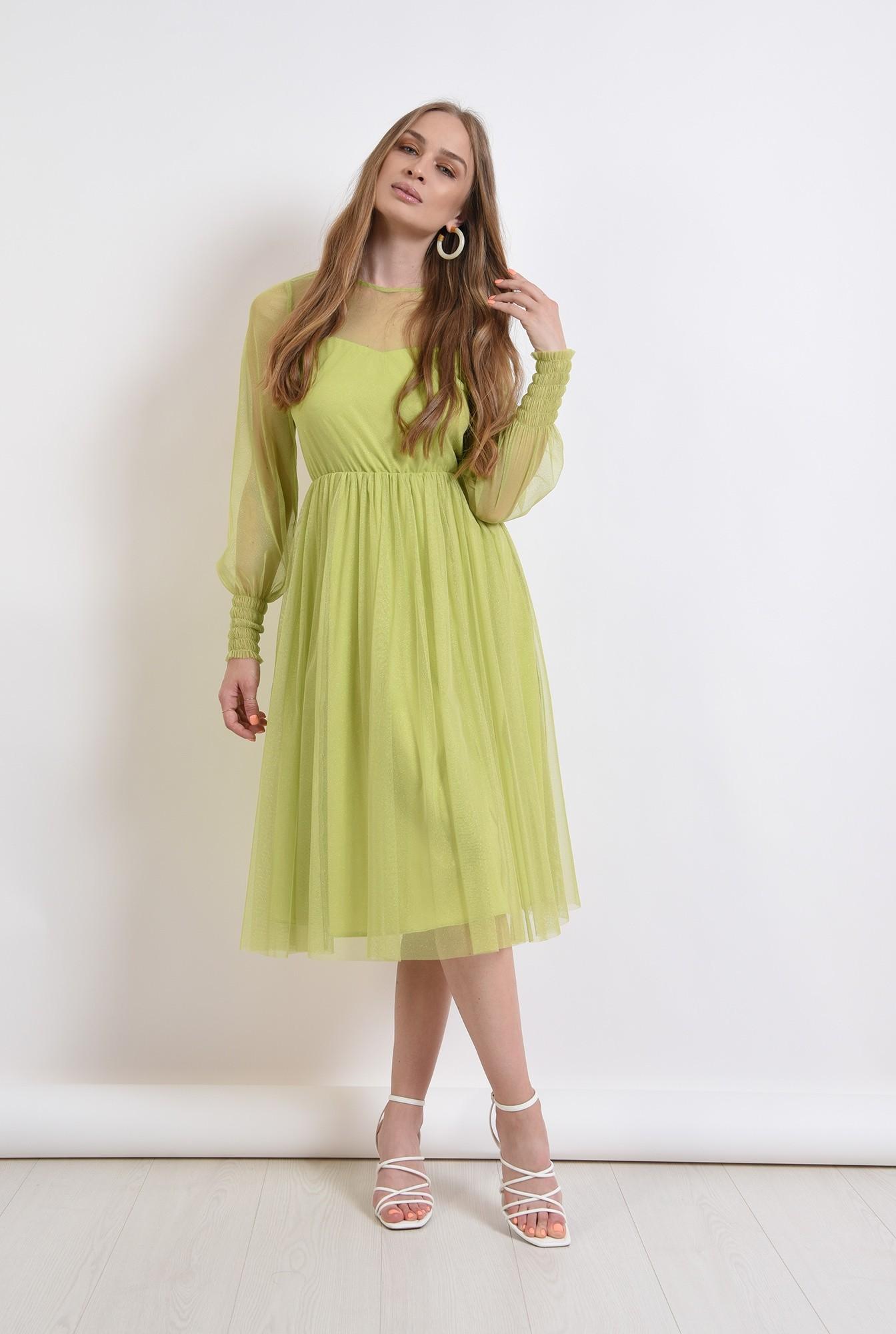 0 - rochie verde, eleganta, stransa la talie