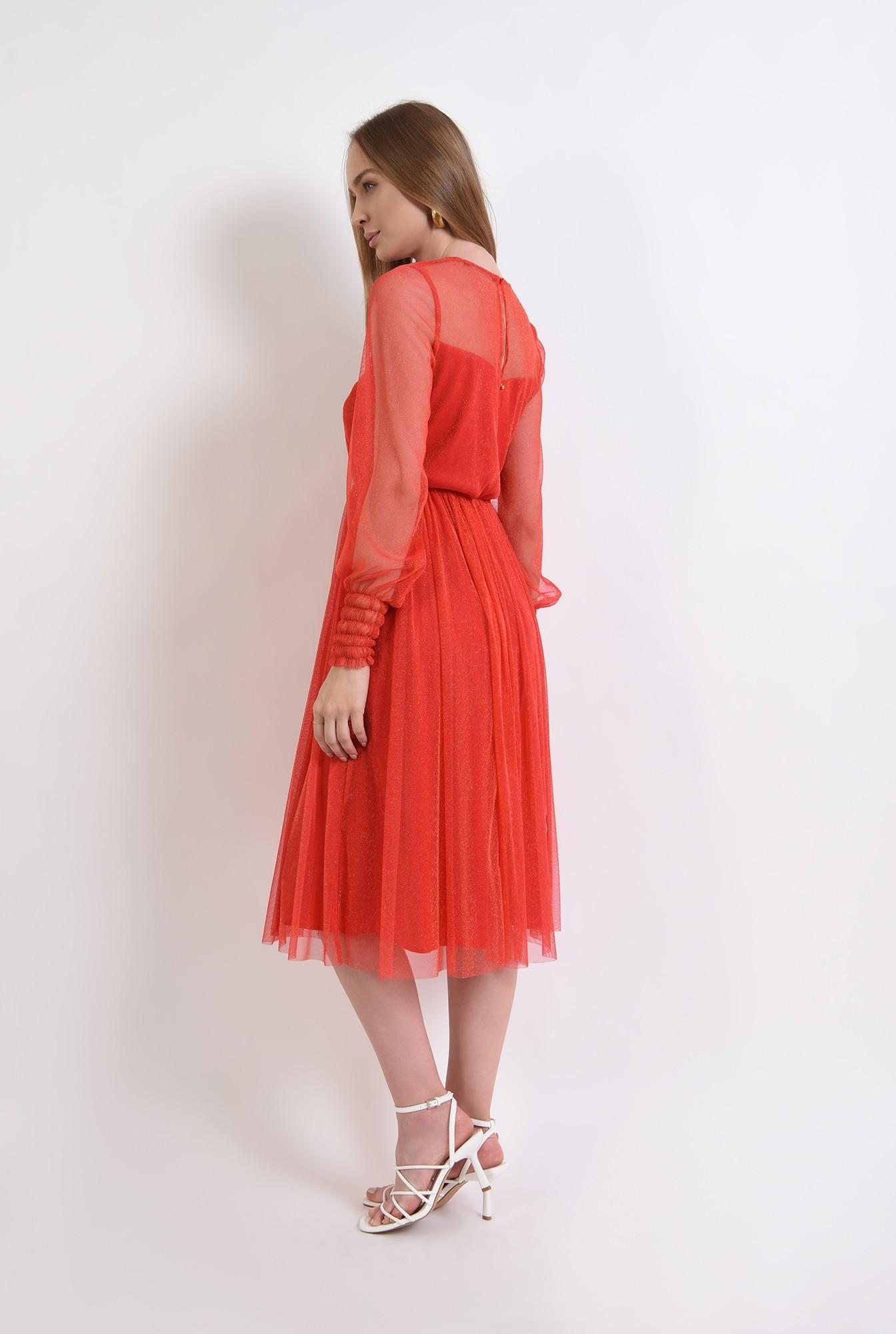 1 - rochie eleganta, din tul, maneci cu manseta, decolteu aparent