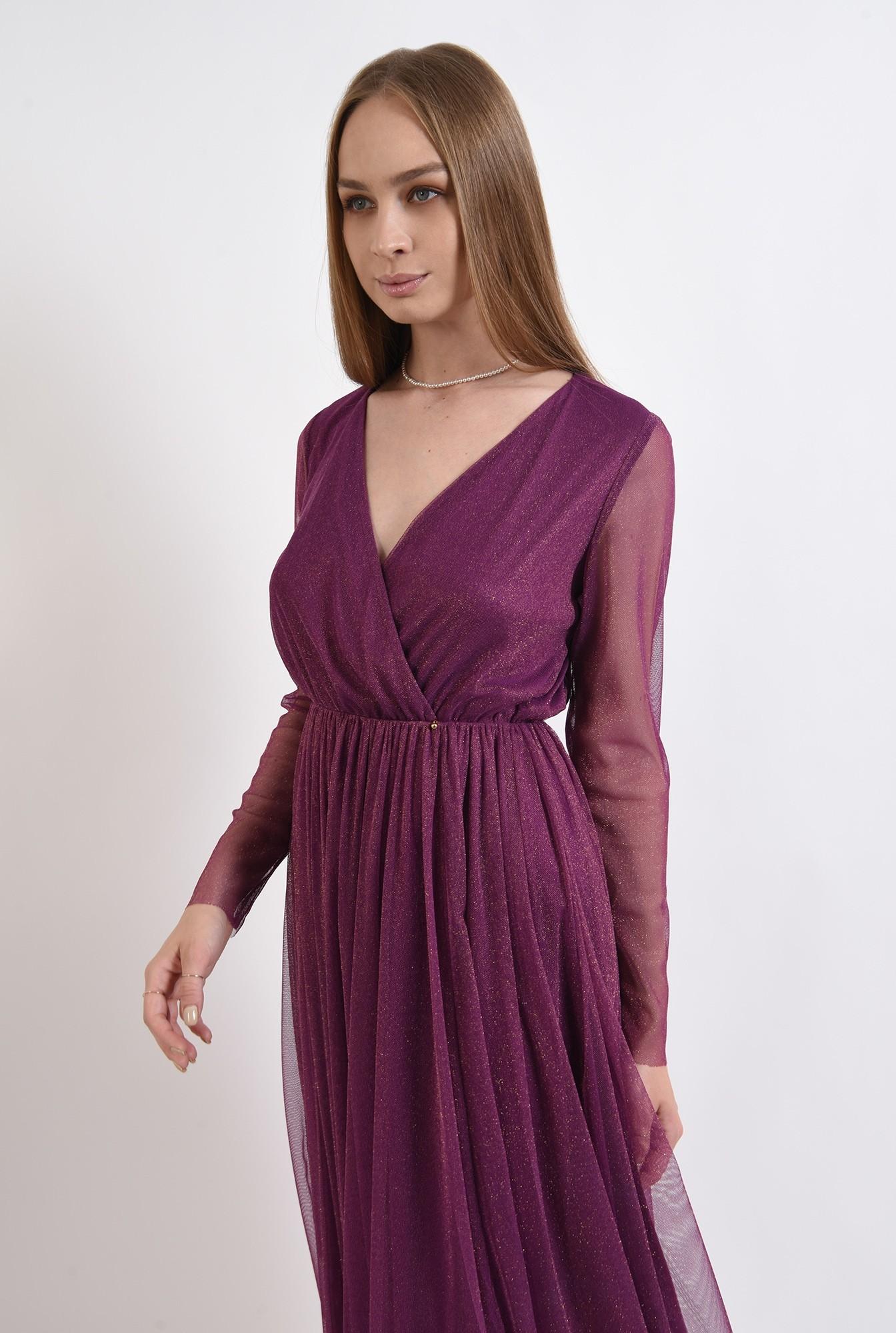 2 -  rochie midi, din tul, cu maneci lungi, anchior petrecut, mov