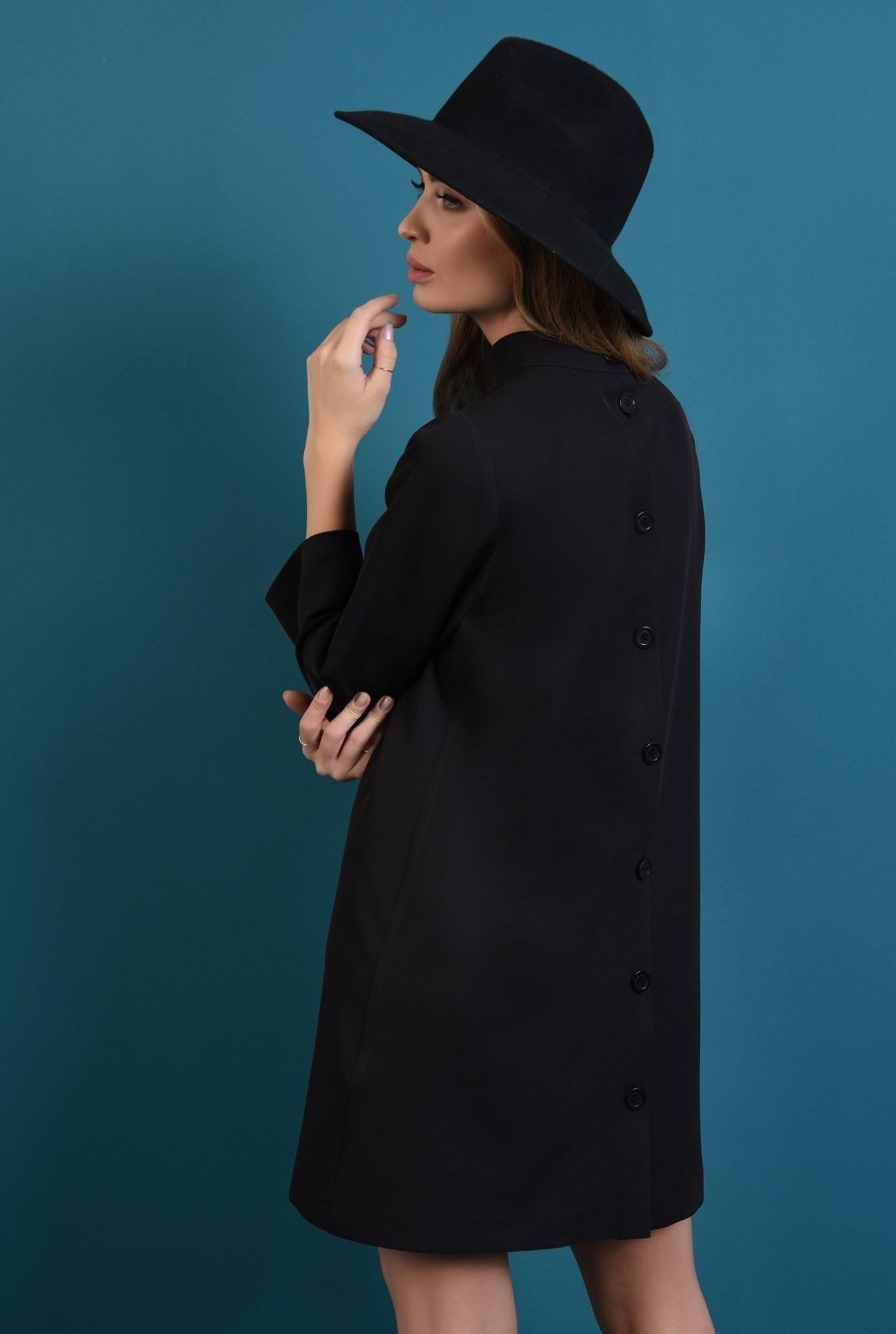 1 - 360 - rochie casual, neagra, cu nasturi la spate