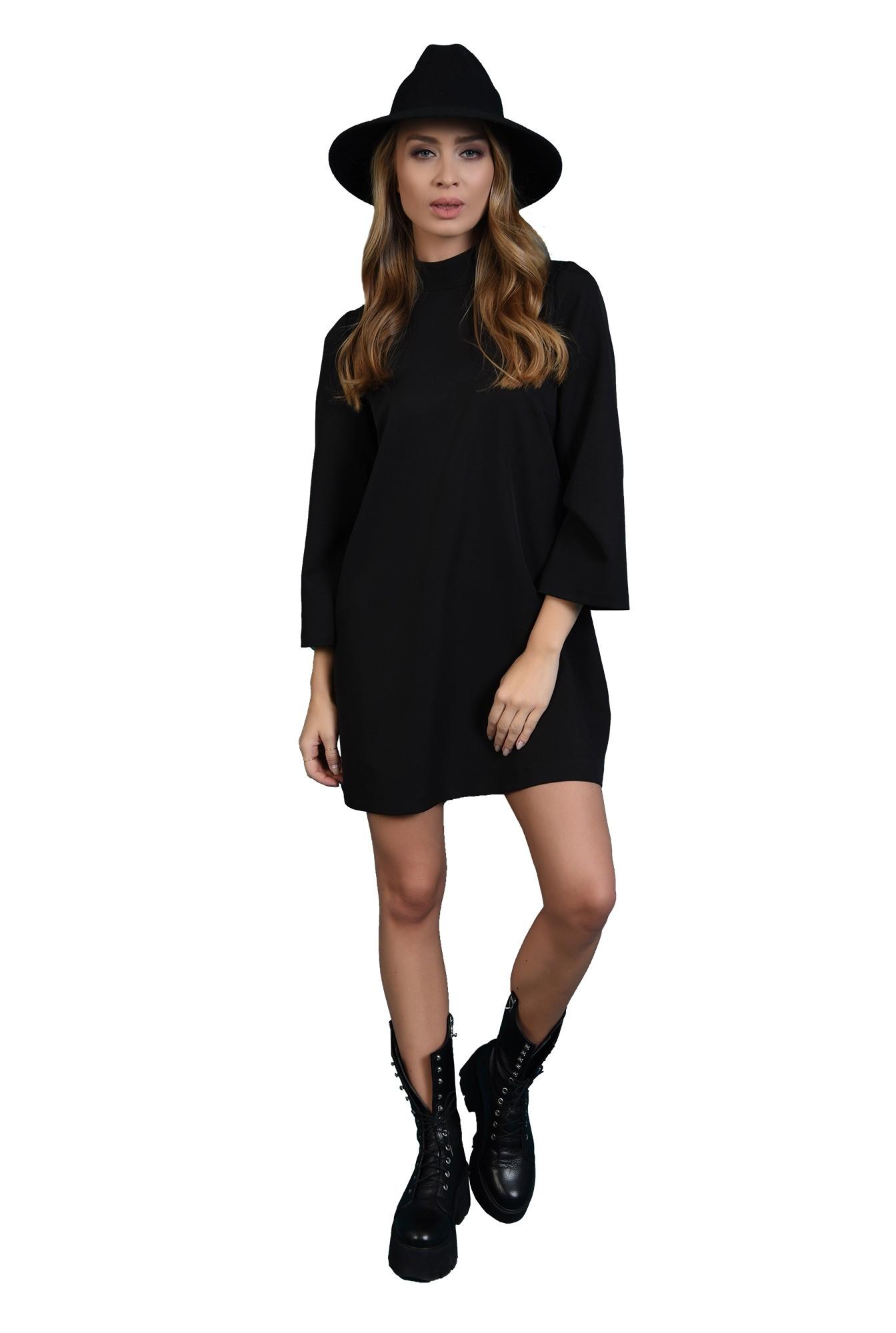 3 - 360 - rochie casual, neagra, cu nasturi la spate