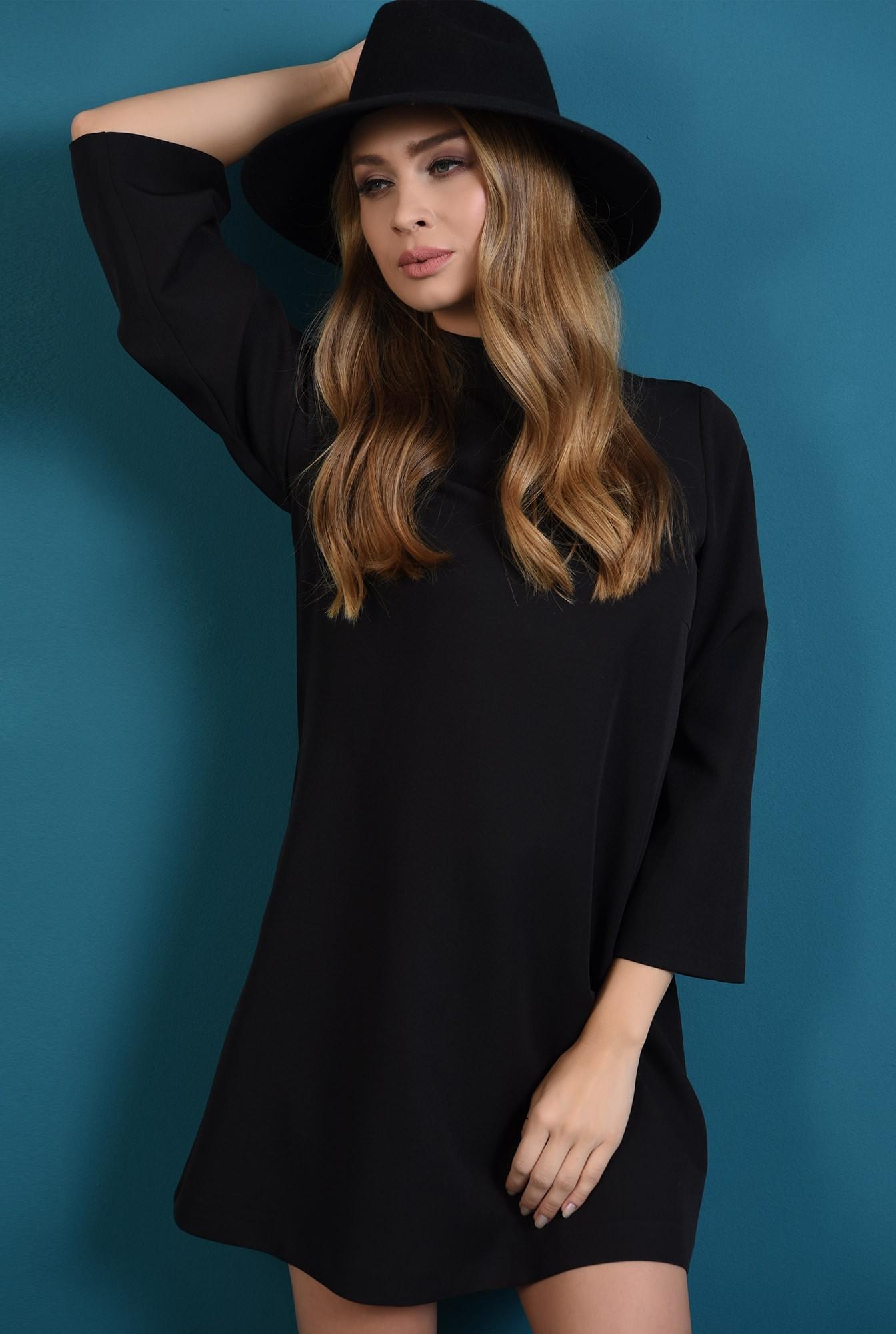 0 - 360 - rochie casual, neagra, cu nasturi la spate