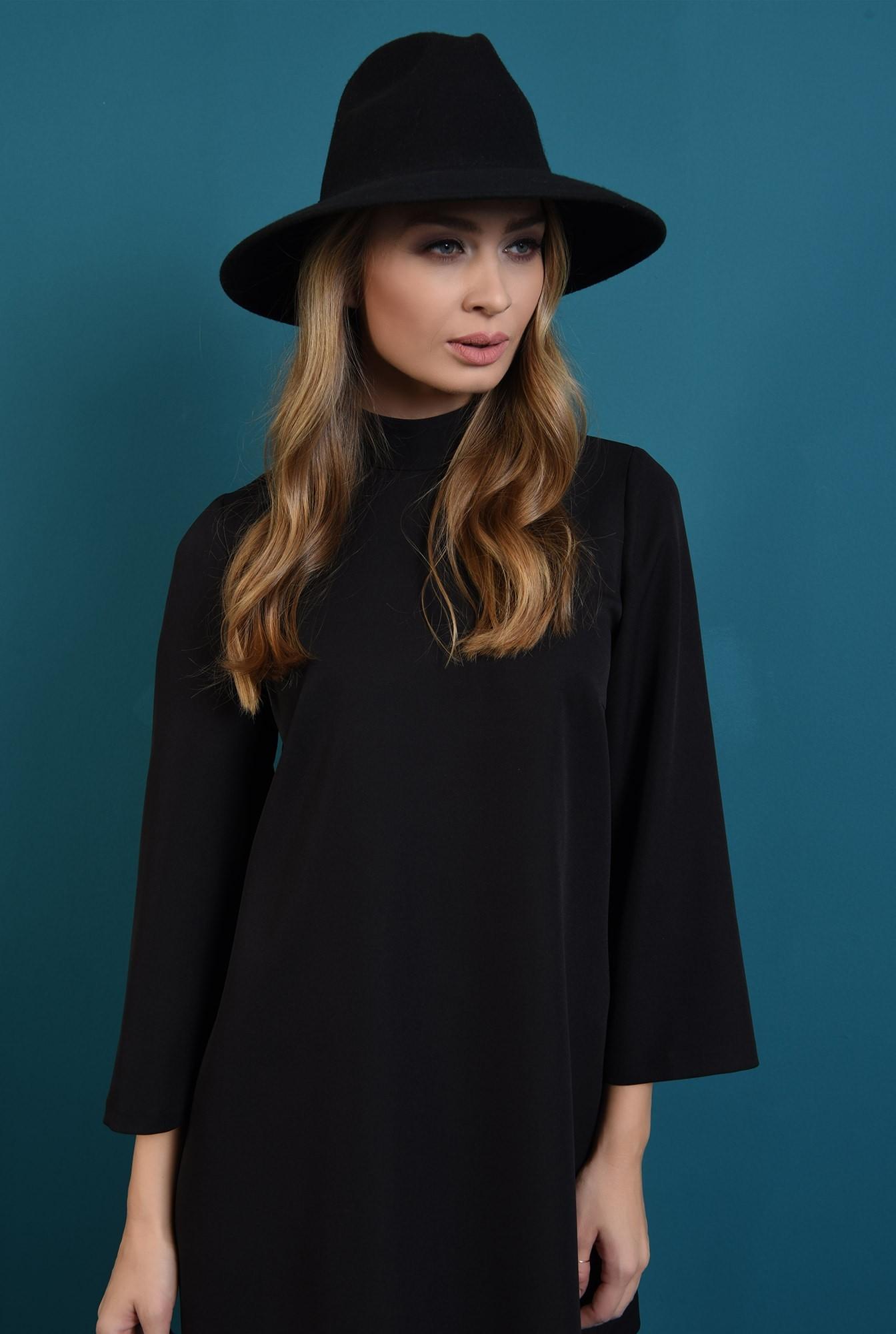 2 - 360 - rochie casual, neagra, cu nasturi la spate