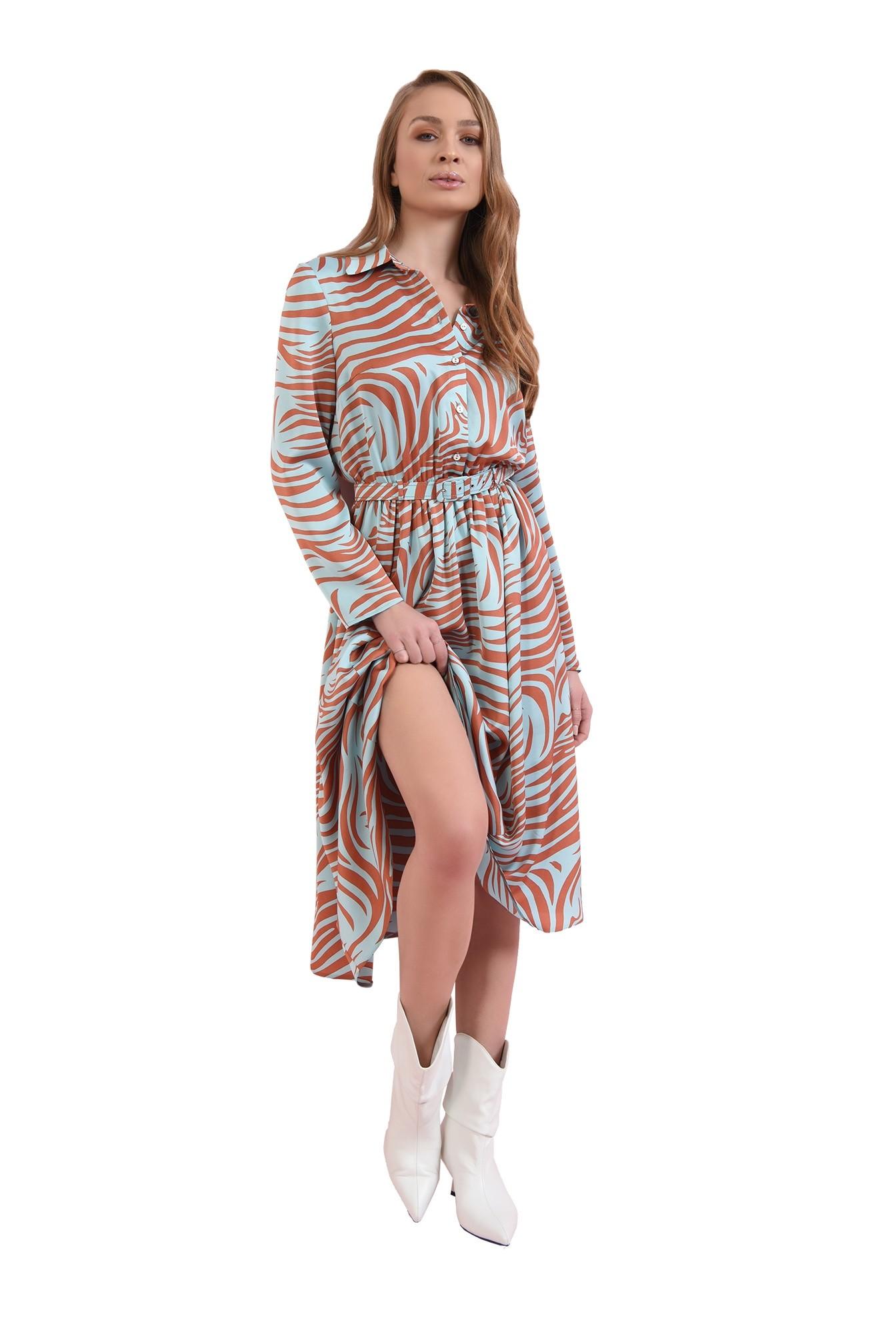 3 - rochie midi, cu print, cu centura, Poema