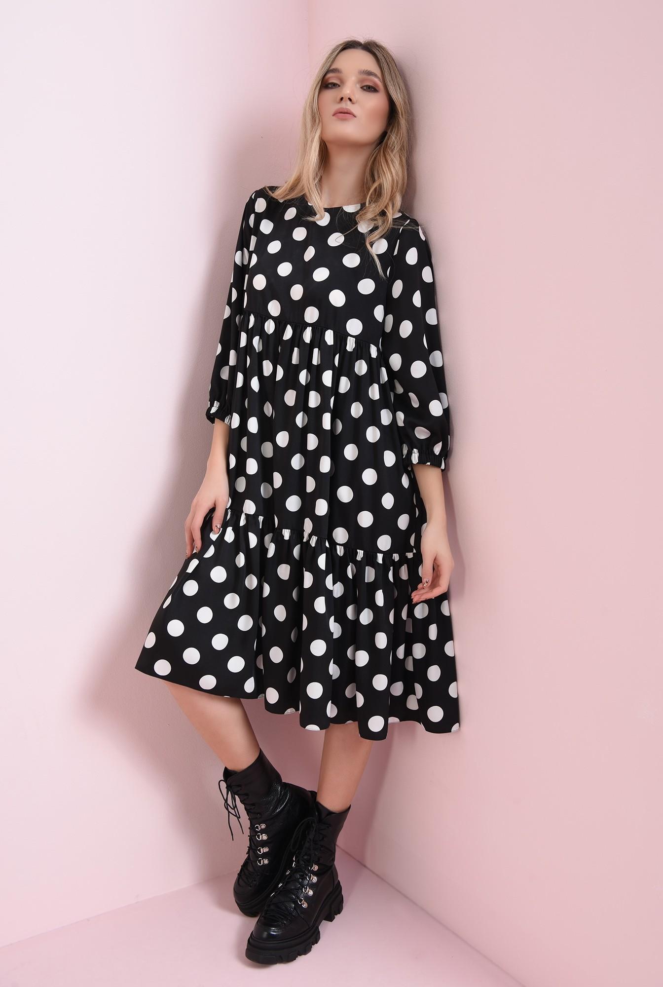 1 - rochie neagra, cu buline, cu volan