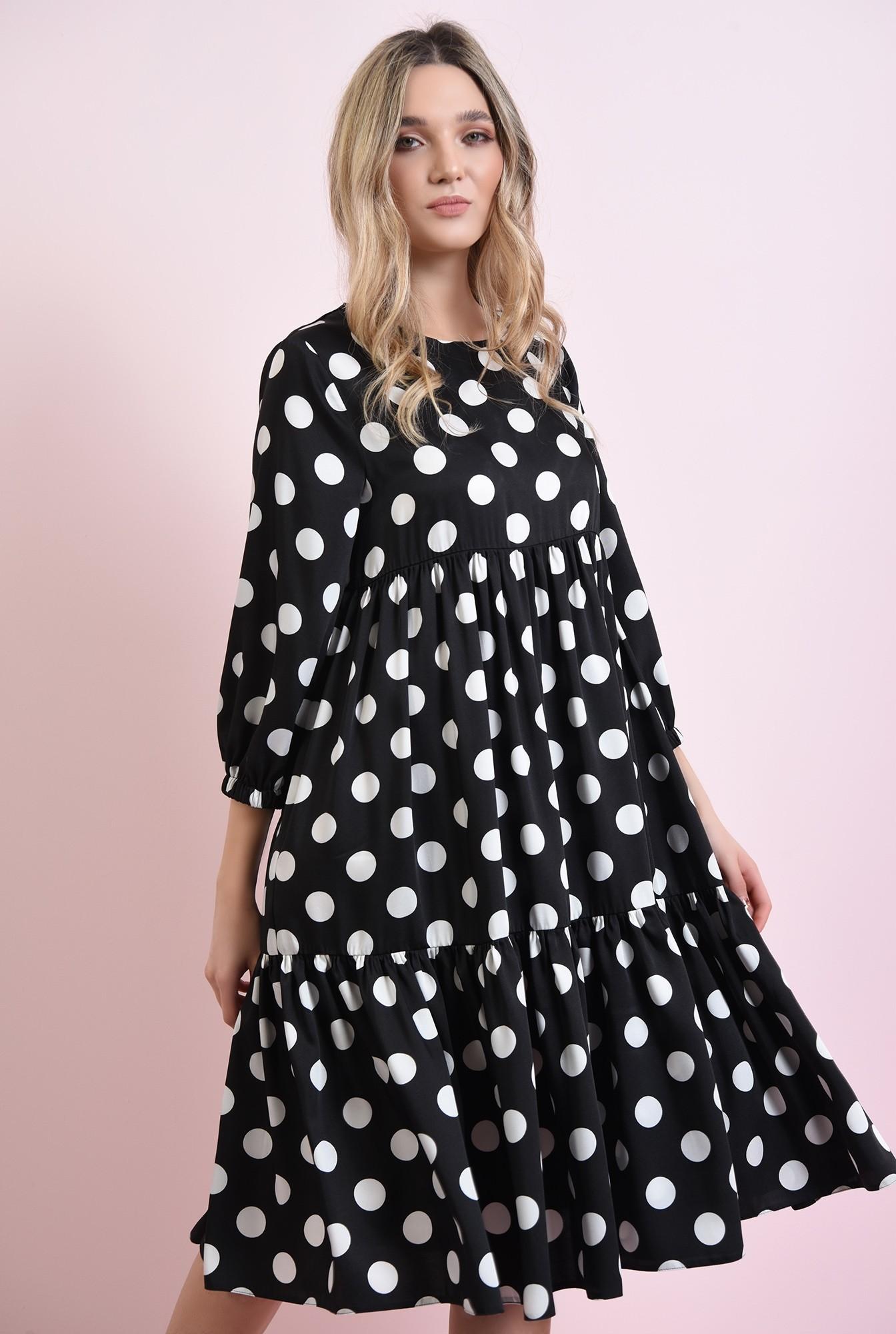 2 - rochie neagra, cu buline, cu volan
