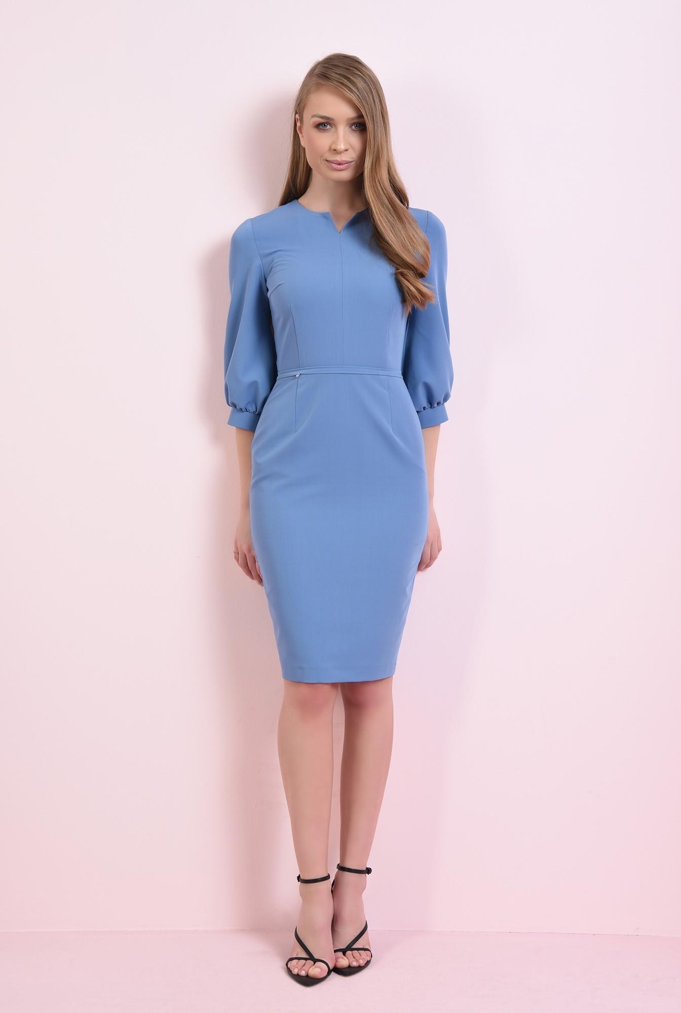 1 - rochie midi, bleu, cu maneca bufanta