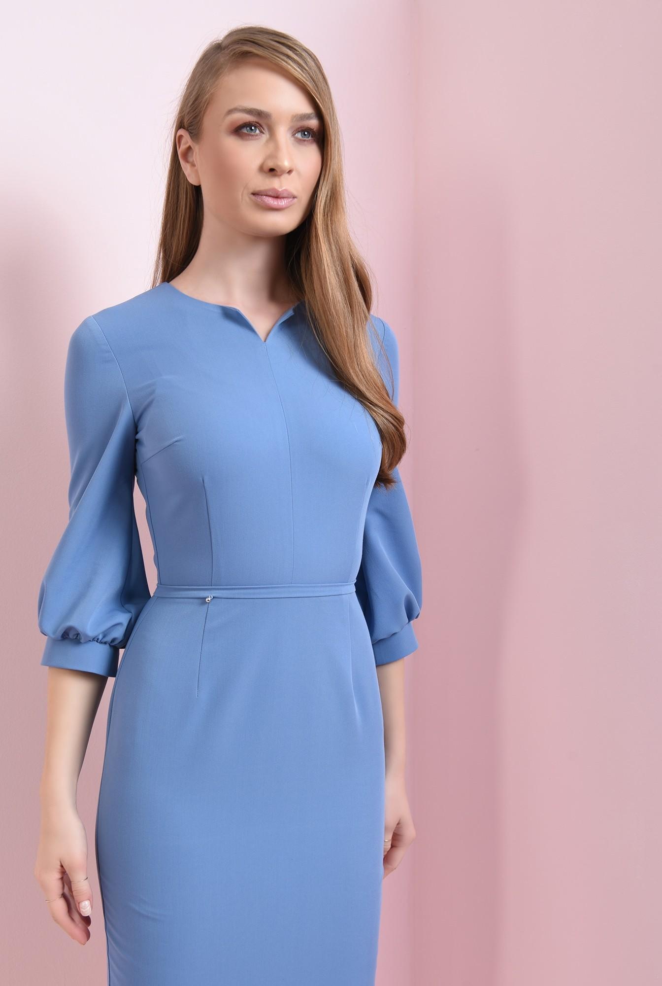 2 - rochie midi, bleu, cu maneca bufanta