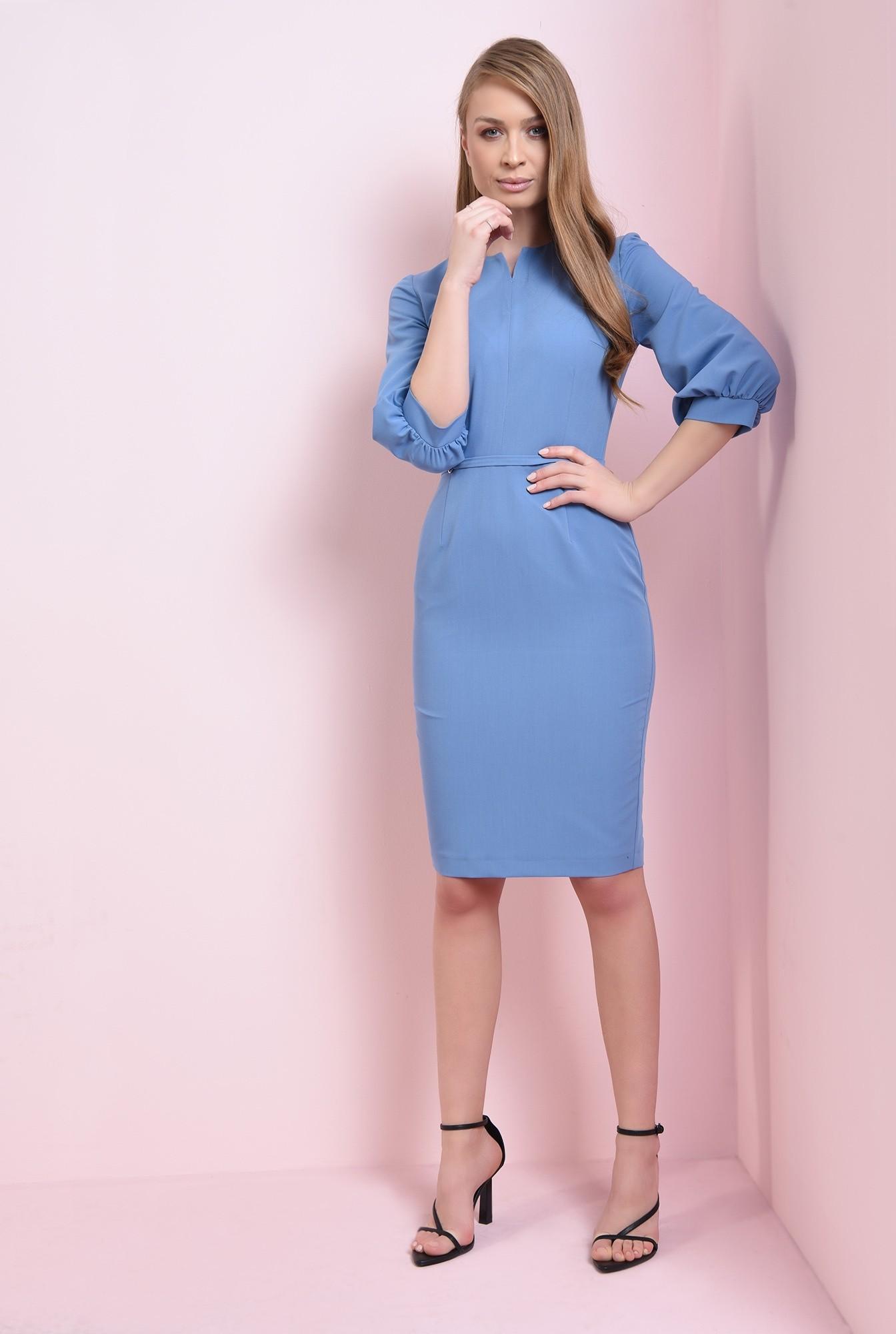 0 - rochie midi, bleu, cu maneca bufanta