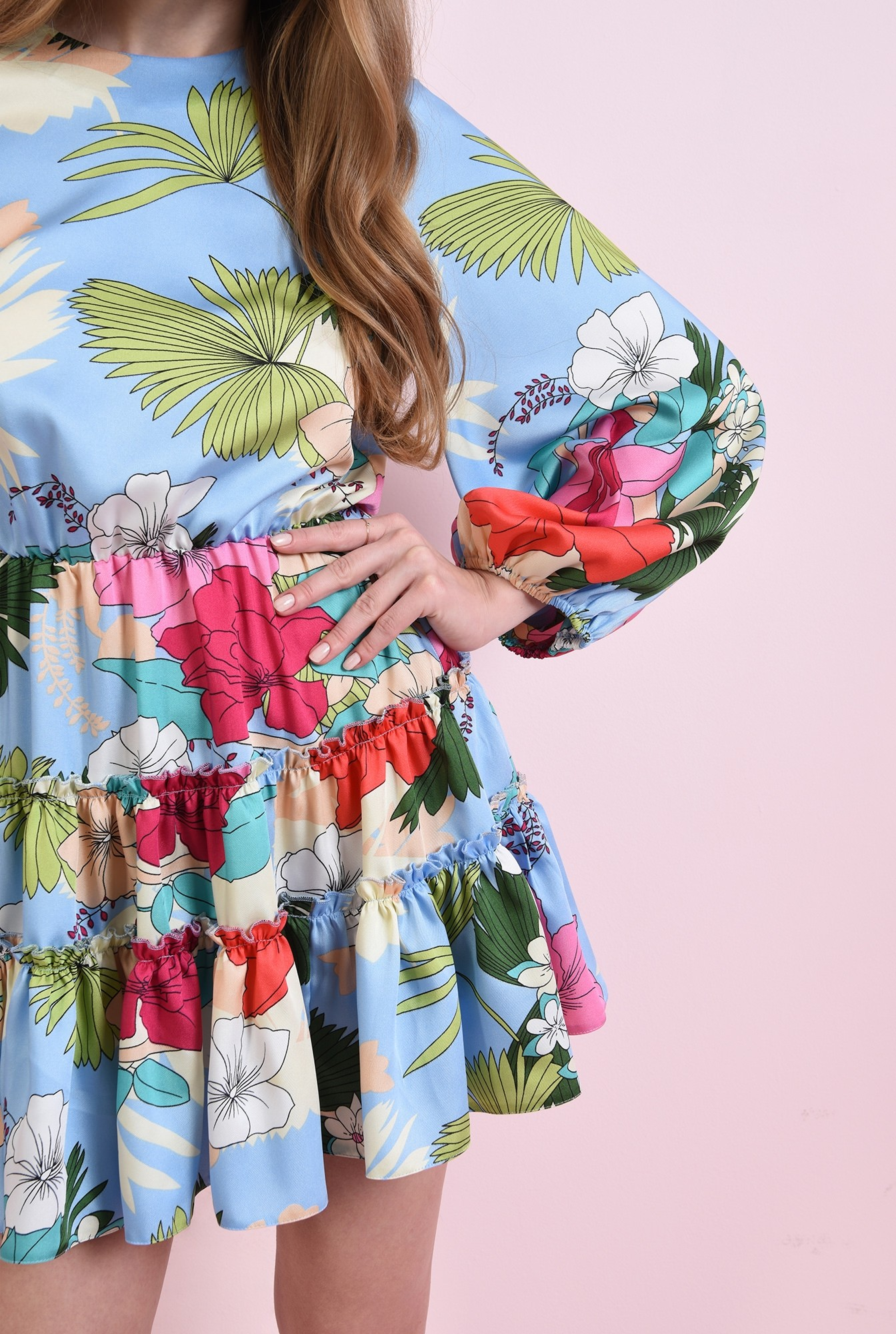 2 - rochie cu print, cu maneca bufanta