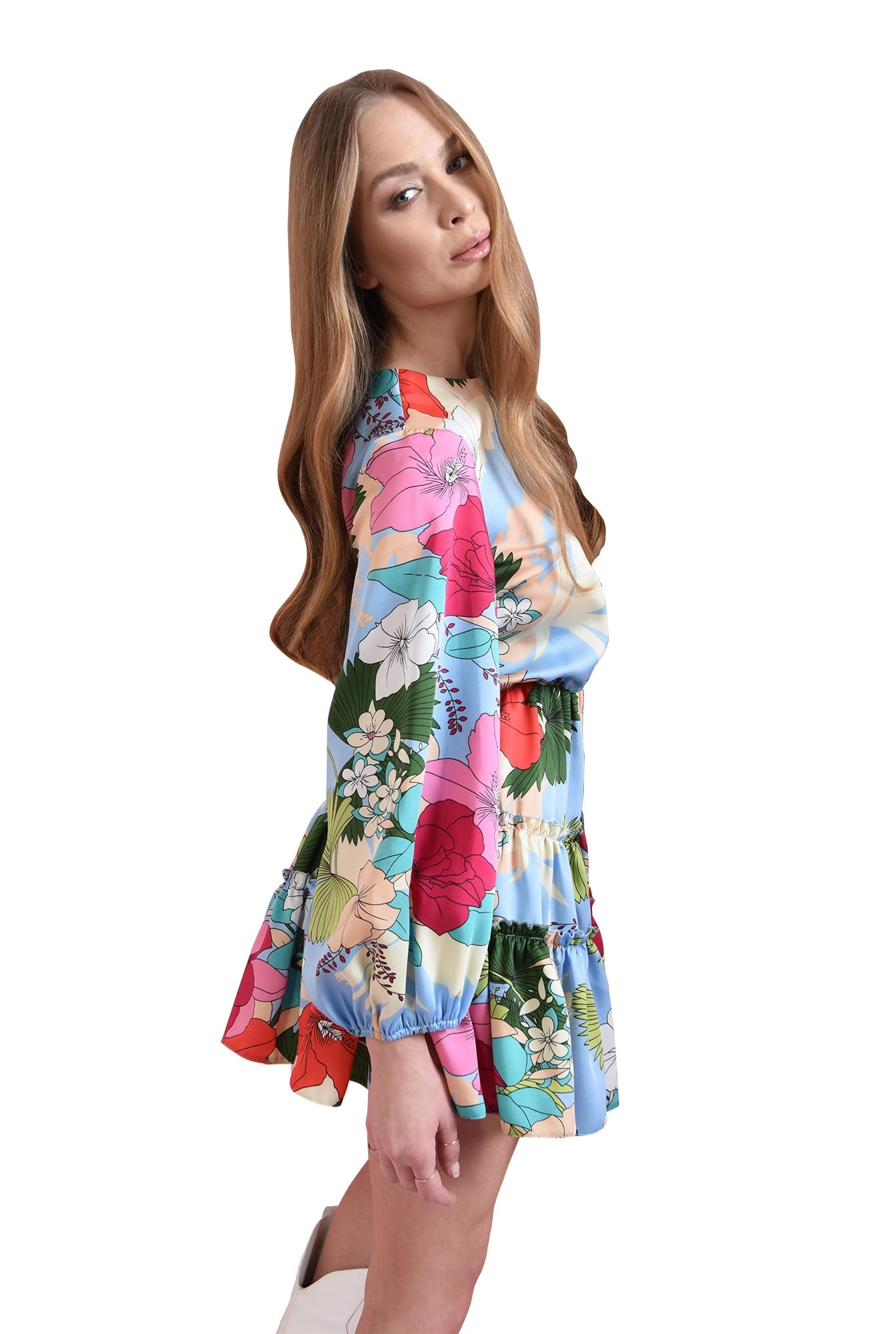 3 - rochie cu print, cu maneca bufanta