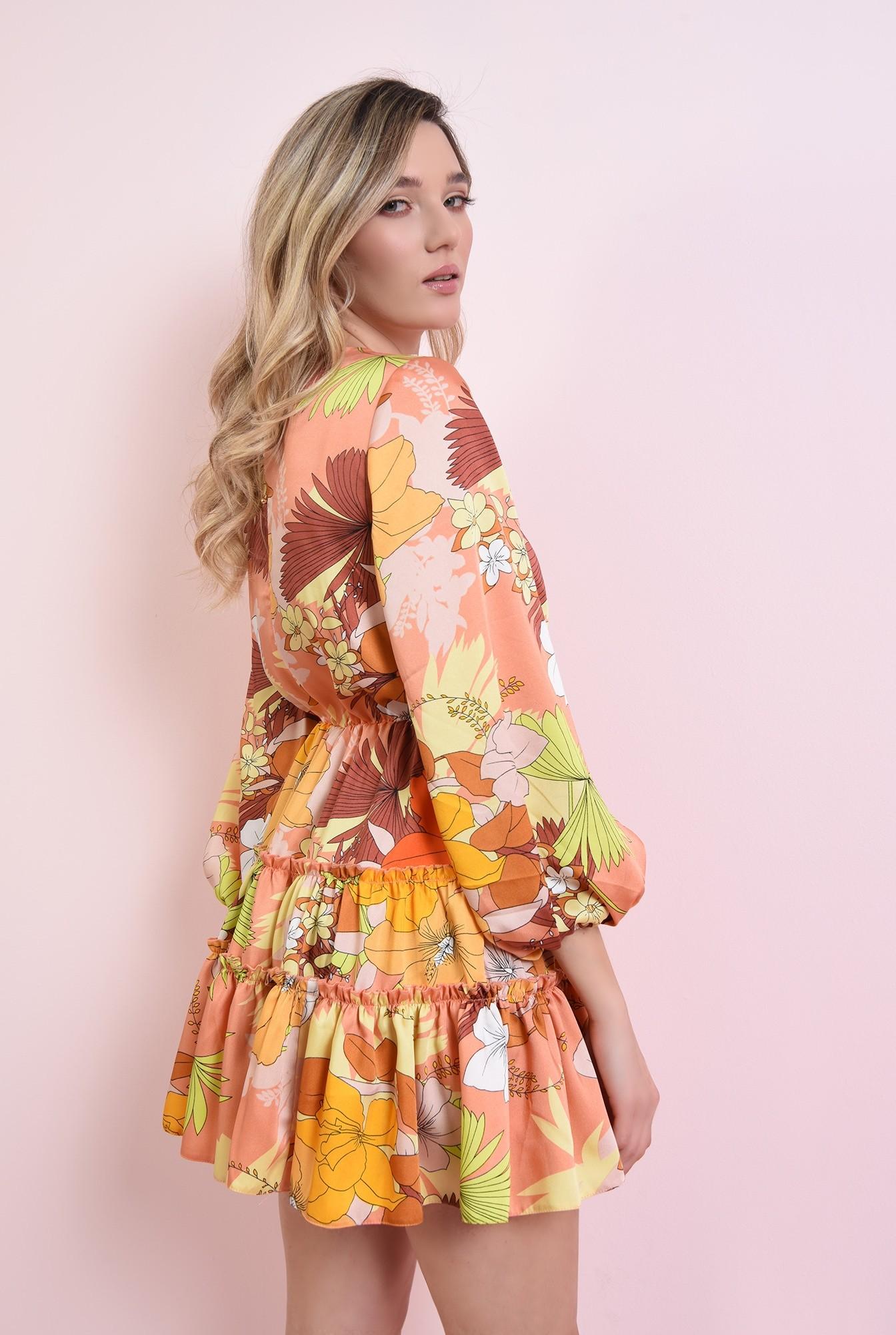 2 - rochie mustar, cu print si volan