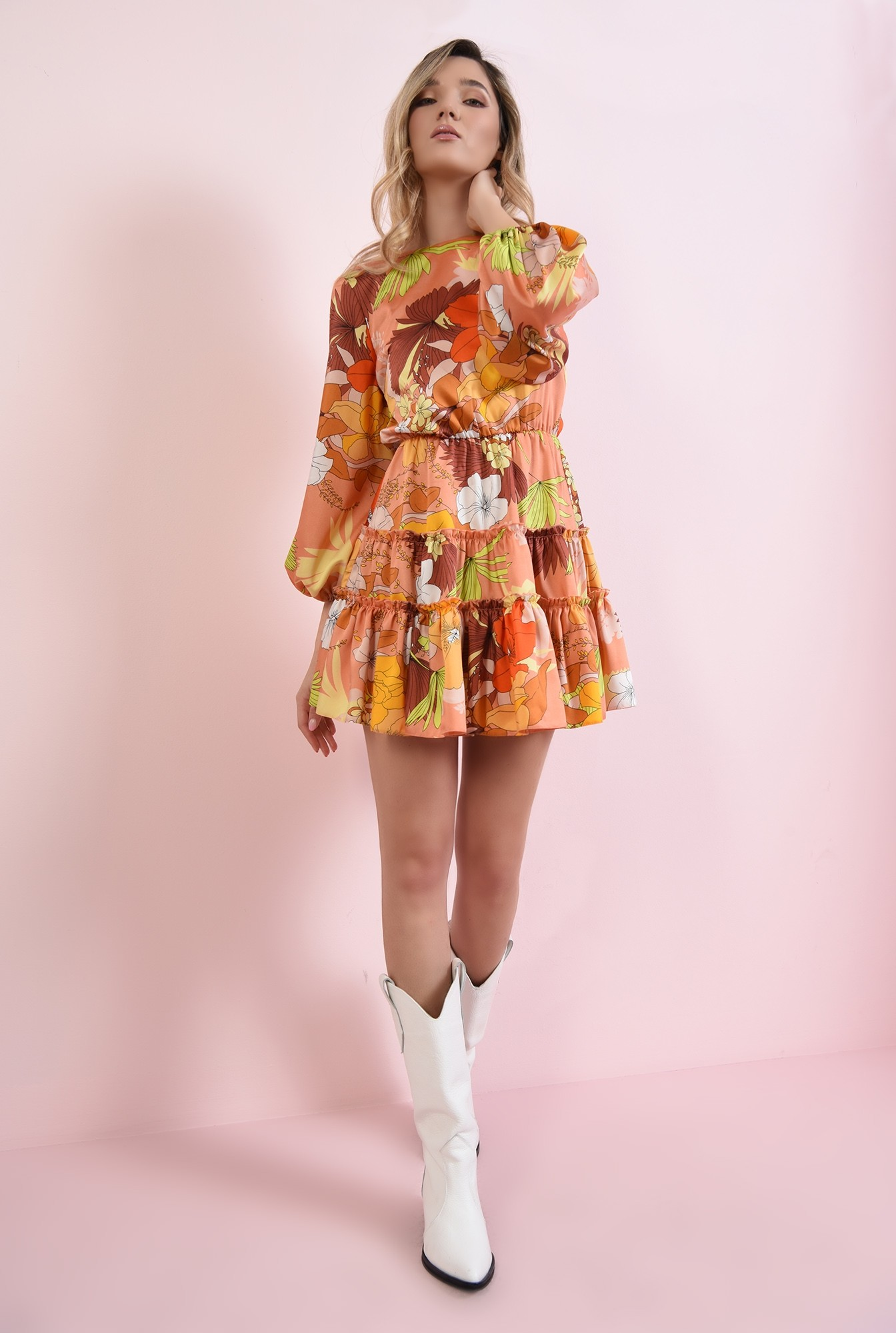 1 - rochie mustar, cu print si volan