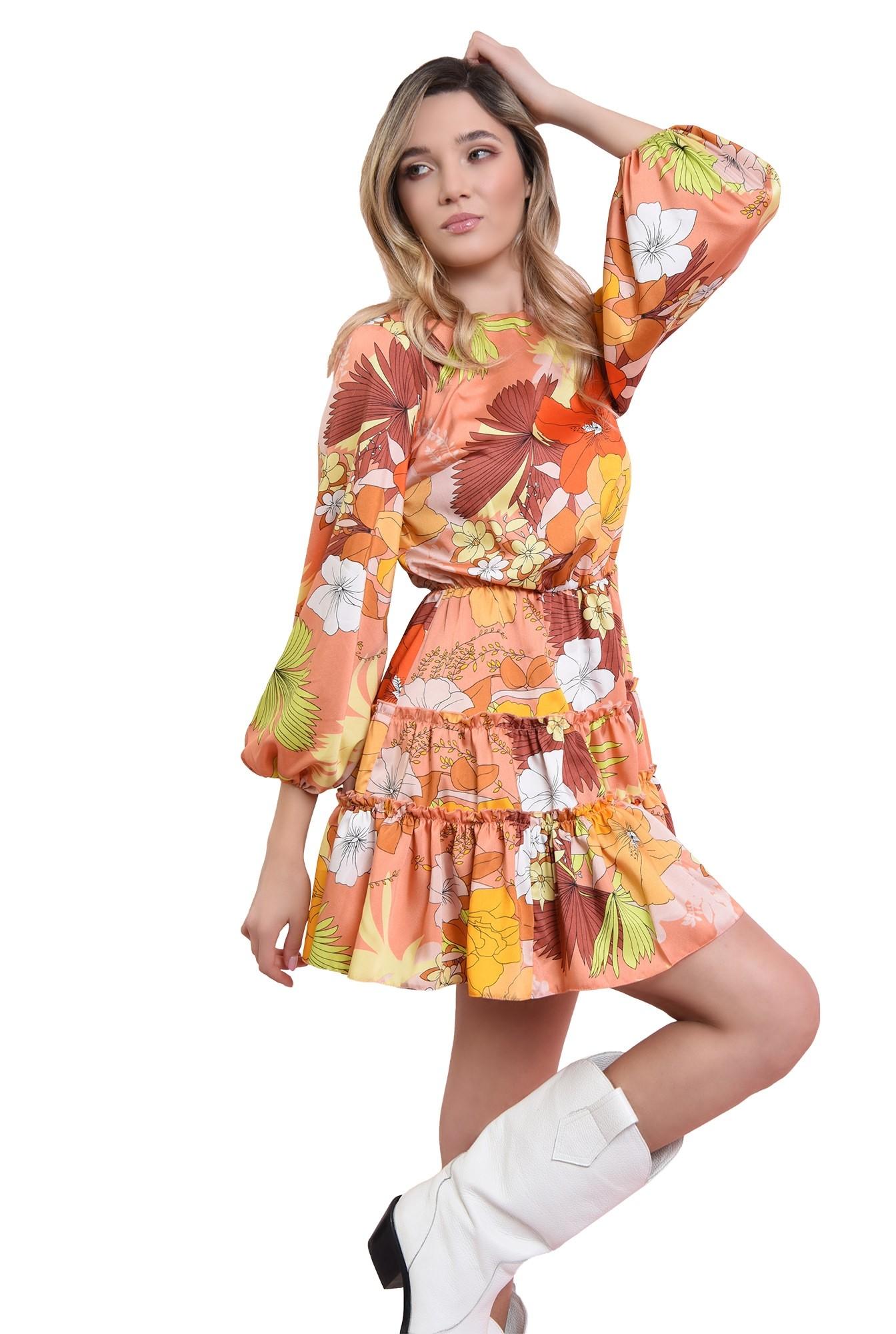 3 - rochie mustar, cu print si volan