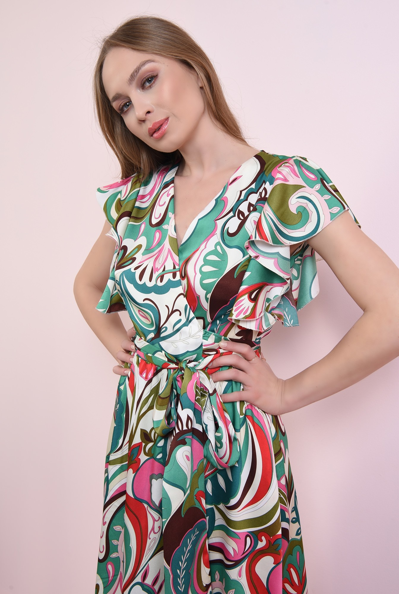 2 - rochie cu print multicolor, petrecuta