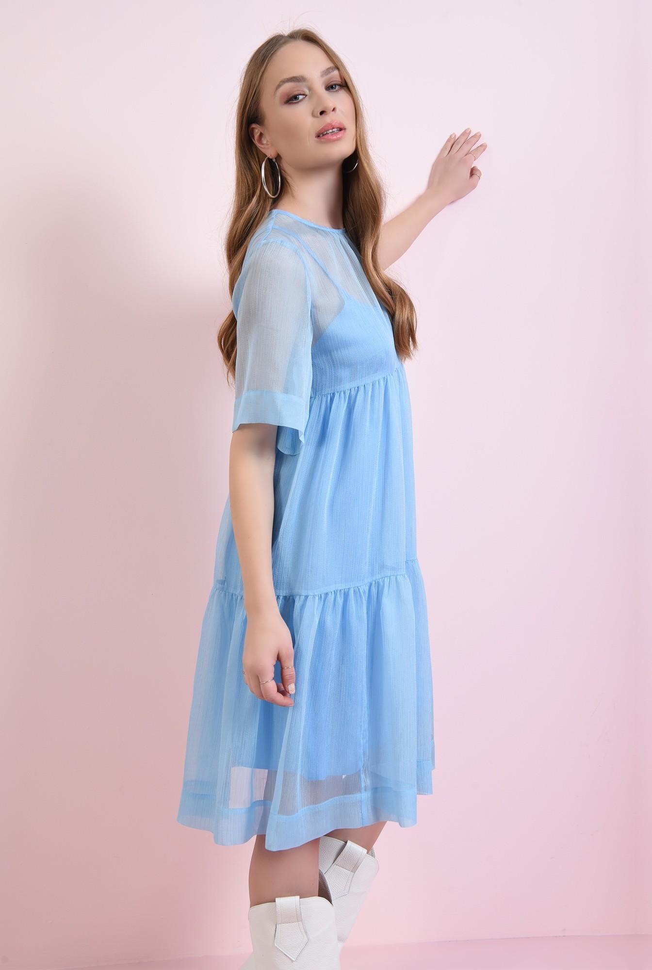2 - rochie bleu, din voal, evazata