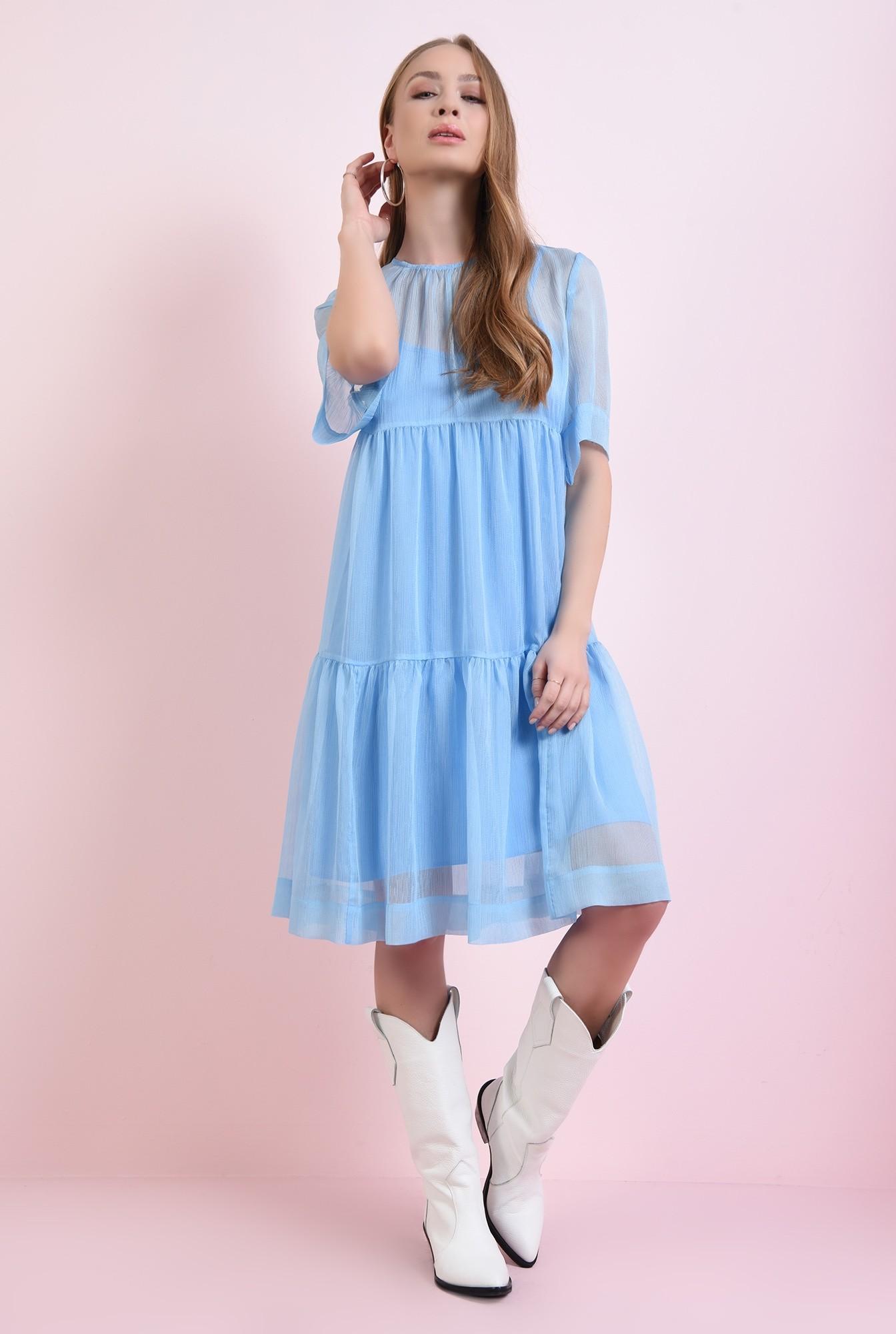 1 - rochie bleu, din voal, evazata