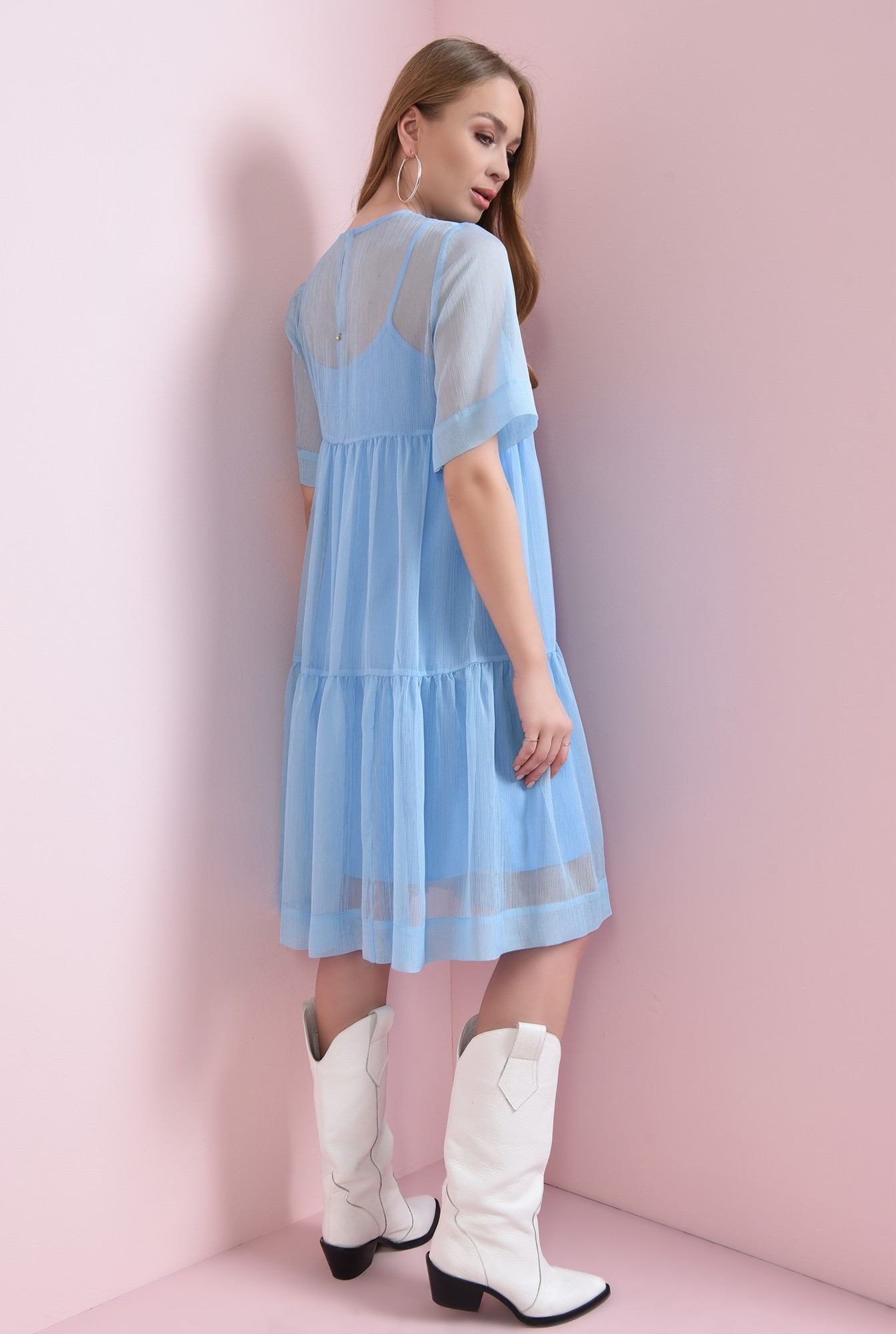 0 - rochie bleu, din voal, evazata
