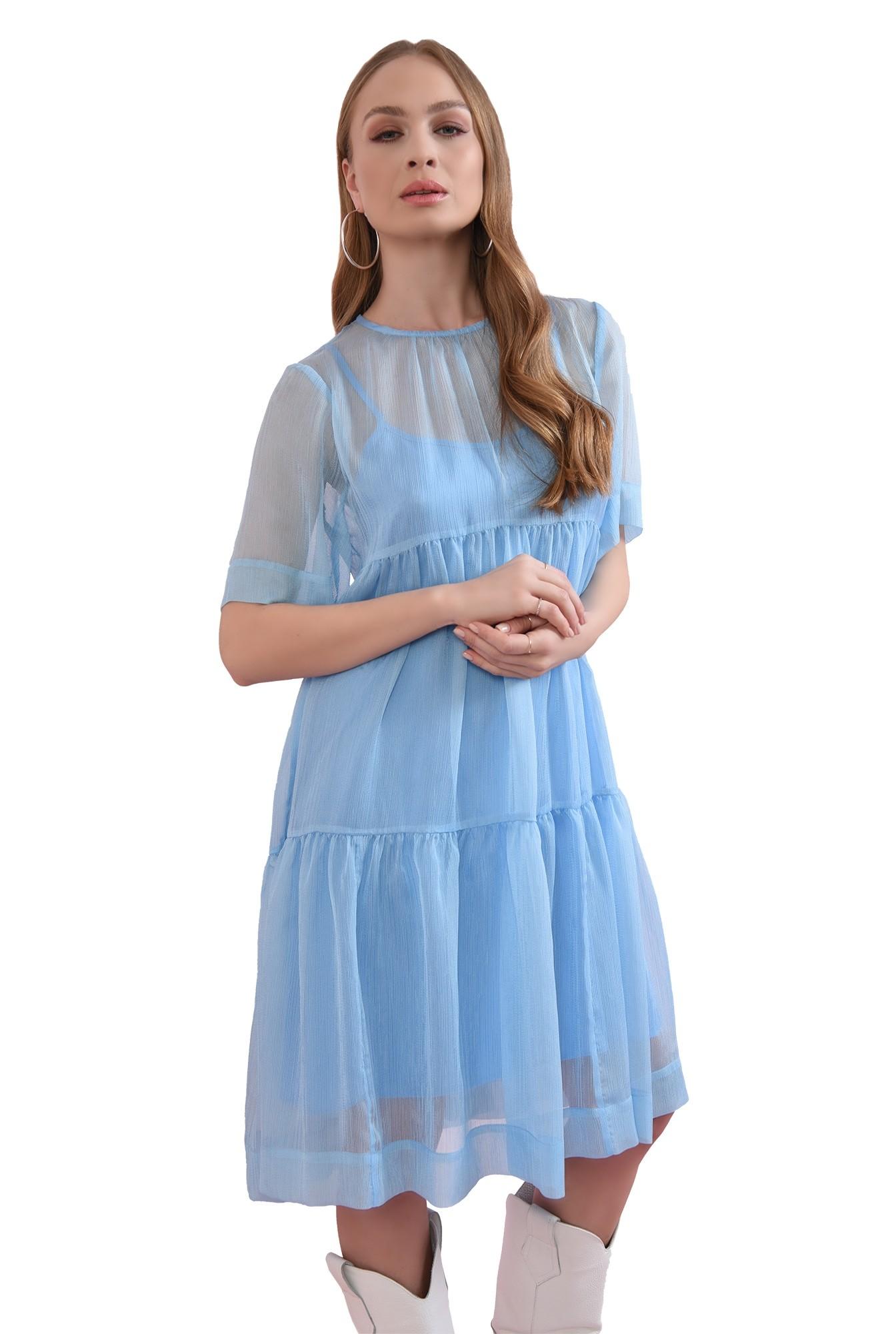 3 - rochie bleu, din voal, evazata