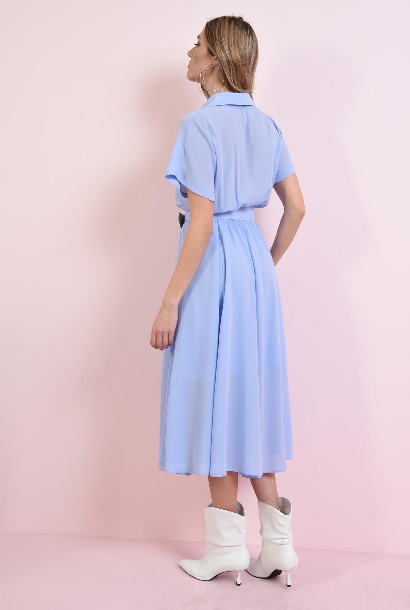 1 - 360 - rochie midi, bleu, 3/4, maneci raglan, centura