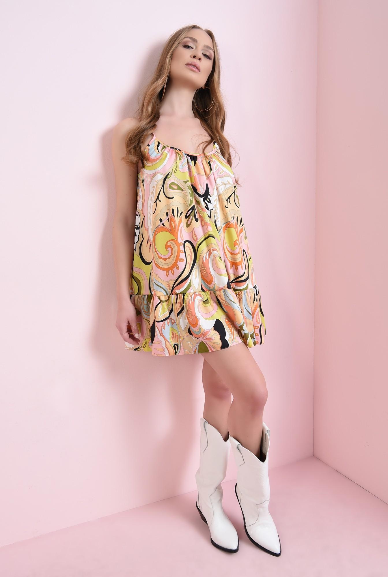 2 - rochie din satin, cu volan, cu print