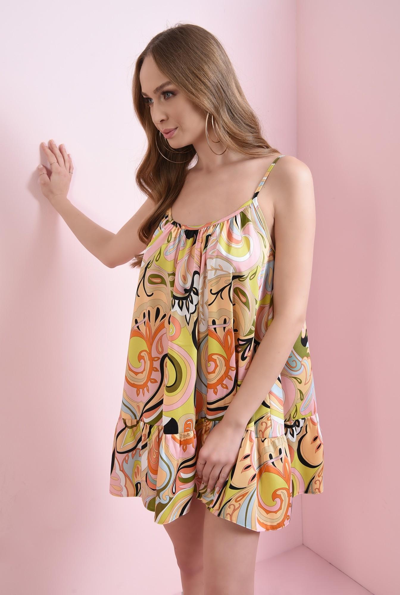1 - rochie din satin, cu volan, cu print