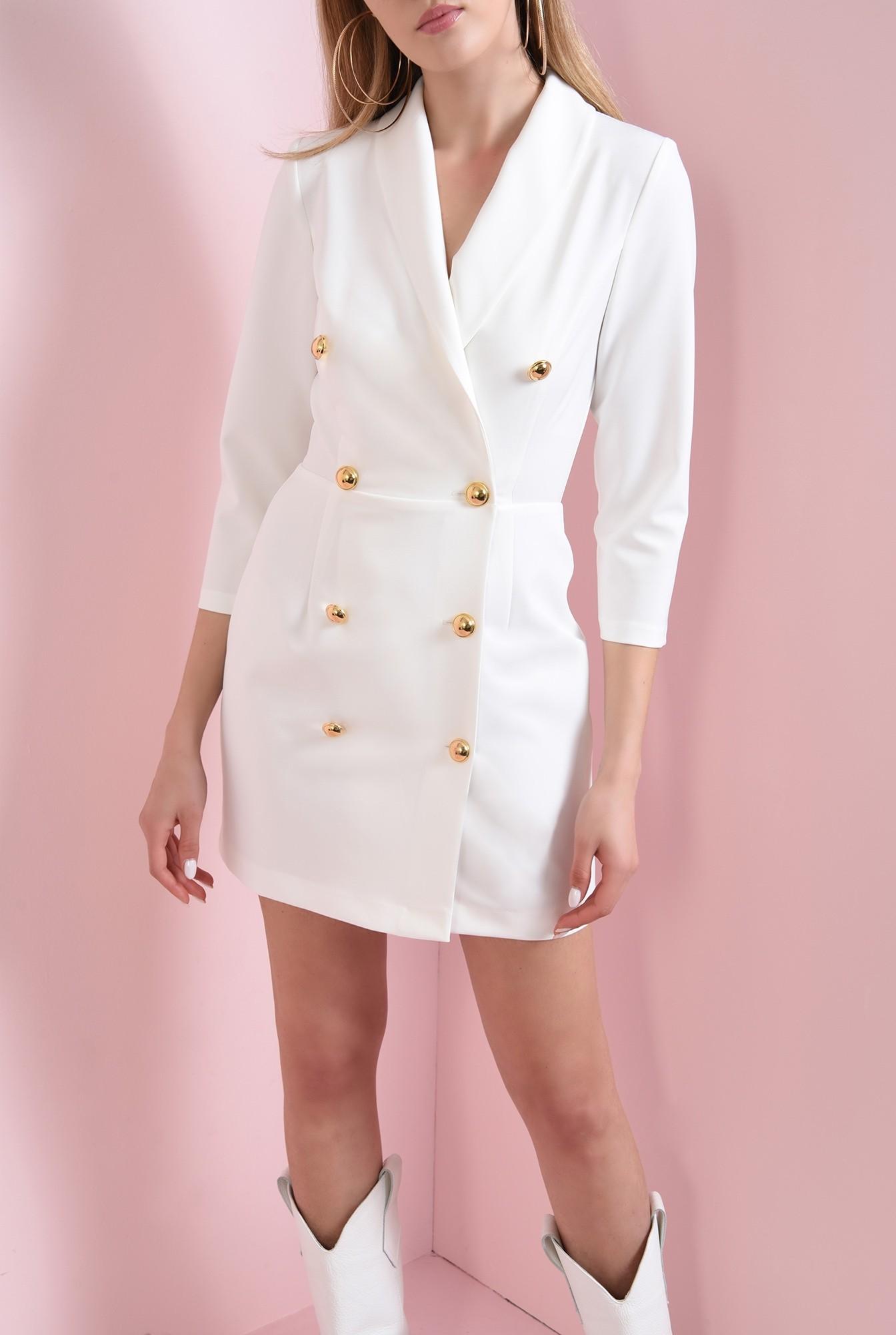 1 - 360 - rochie mini, ivoar, cu nasturi aurii