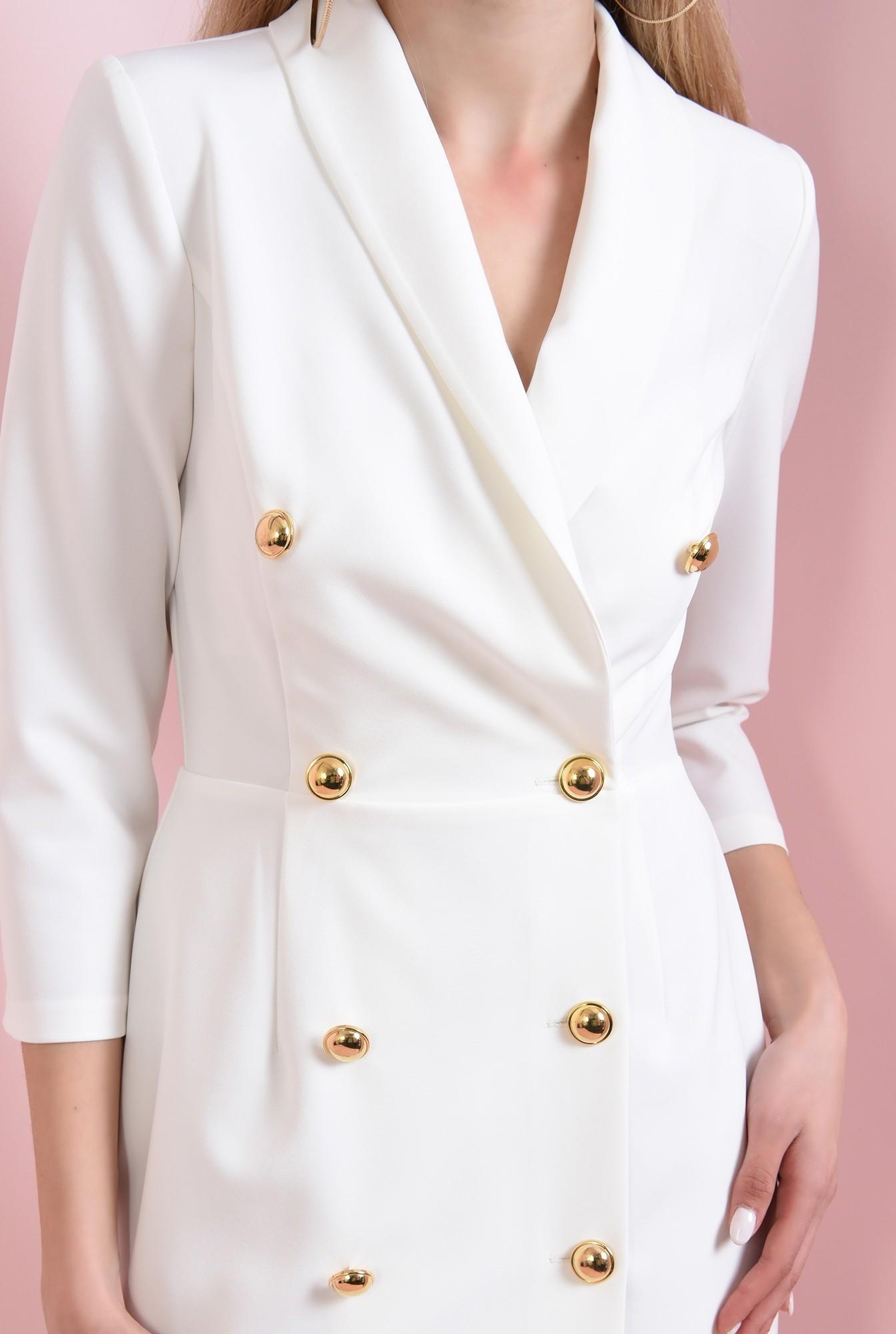 2 - 360 - rochie mini, ivoar, cu nasturi aurii