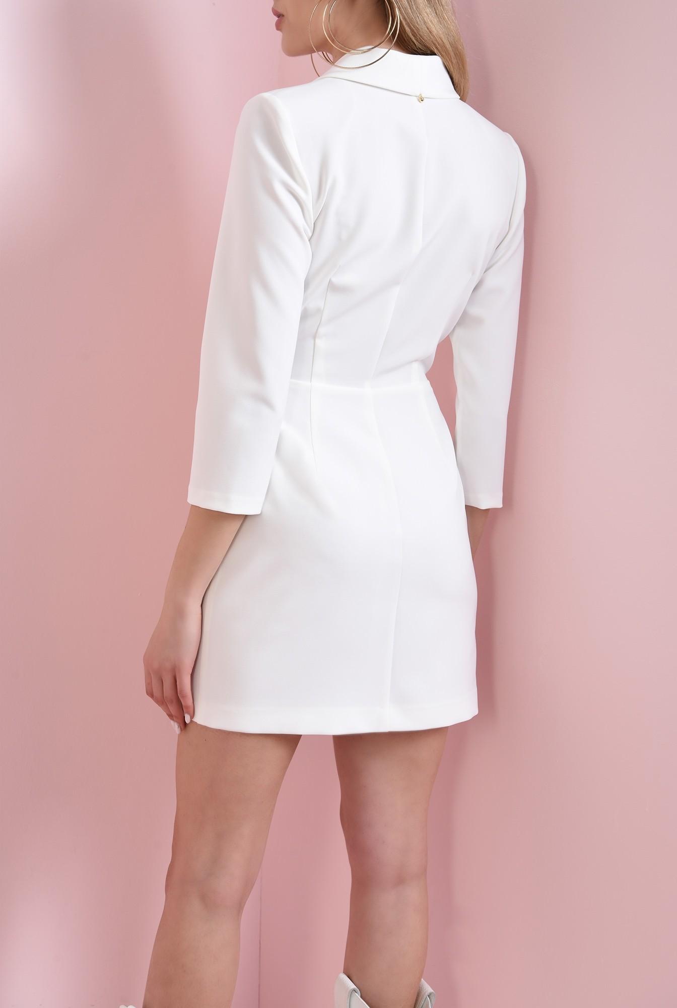 3 - 360 - rochie mini, ivoar, cu nasturi aurii