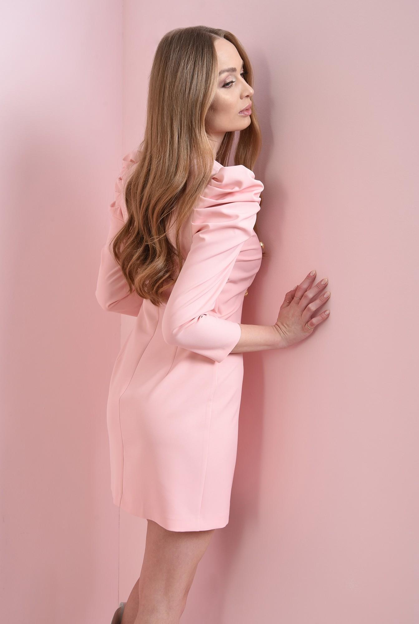 1 - rochie roz, scurta, cu revere