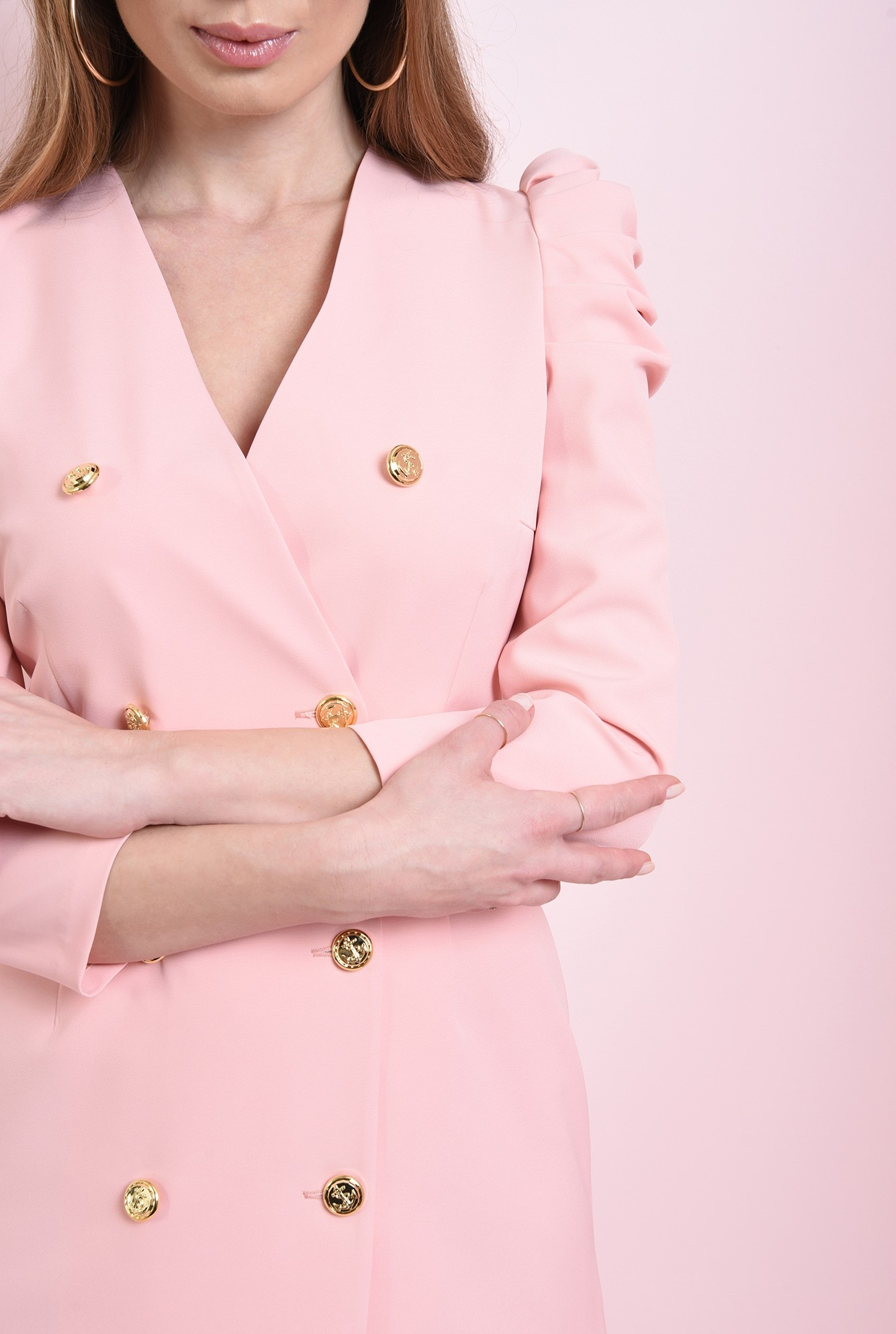 2 - rochie roz, scurta, cu revere