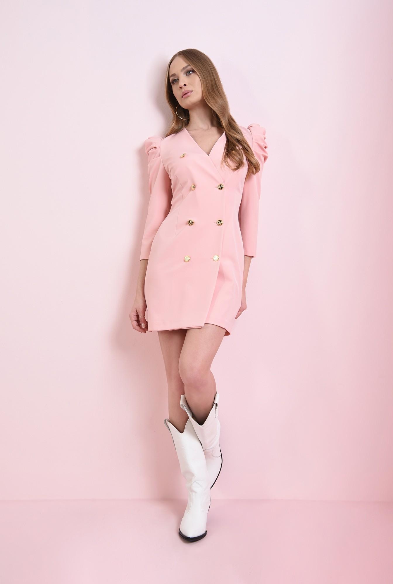 0 - rochie roz, scurta, cu revere