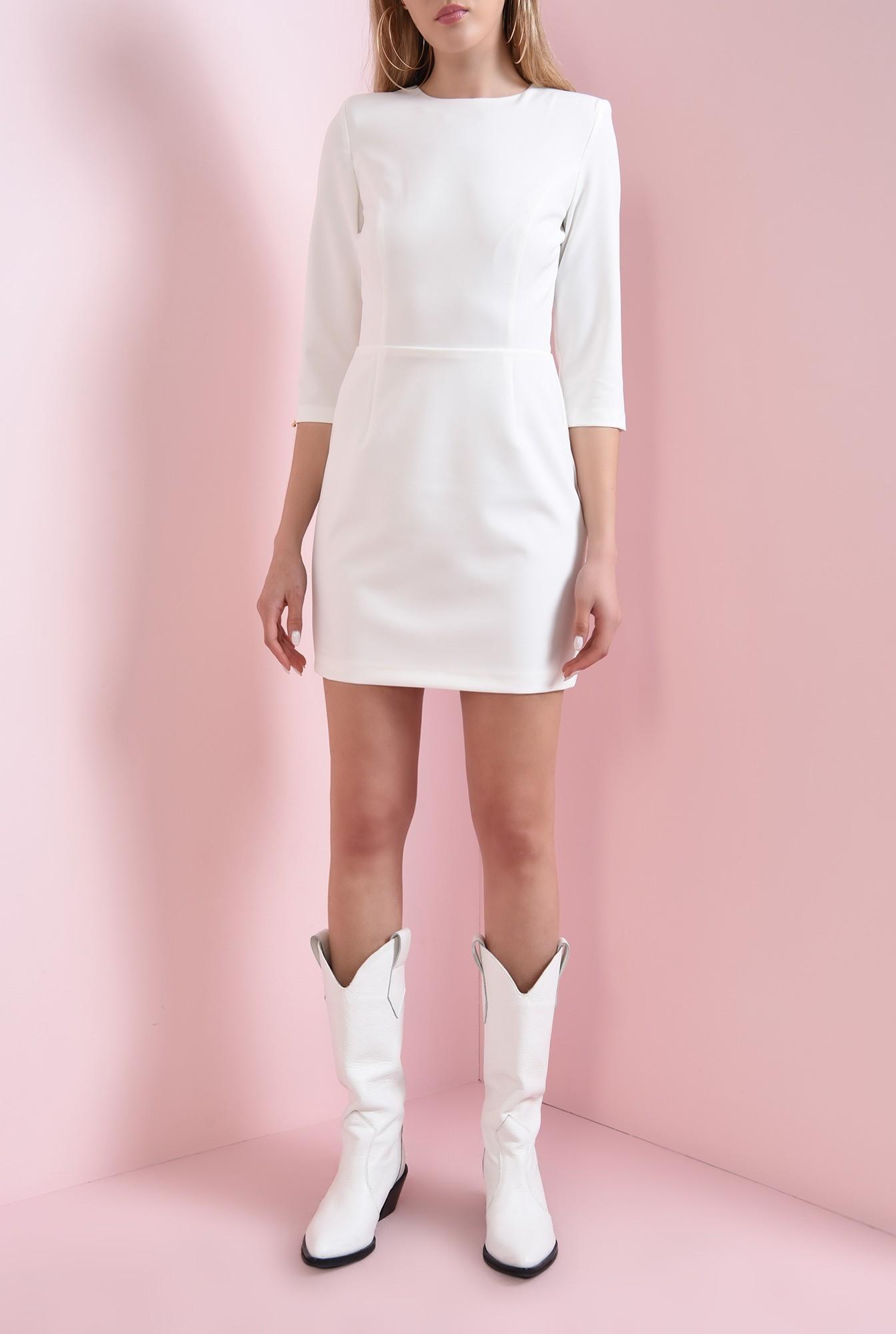 3 - 360 - rochie mini, ivoar, cu decupaj la spate