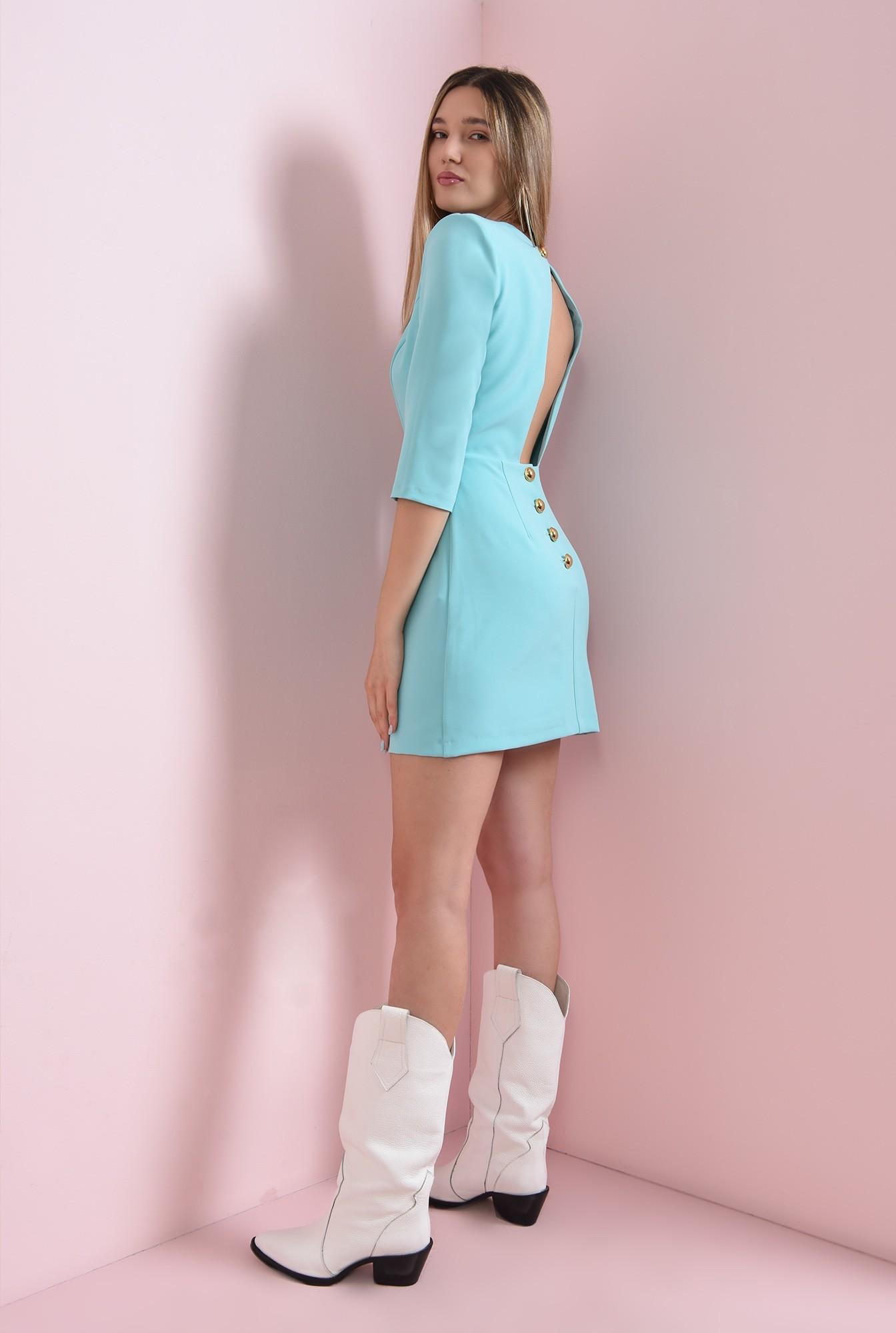 0 - rochie mini, turcoaz, cu nasturi aurii