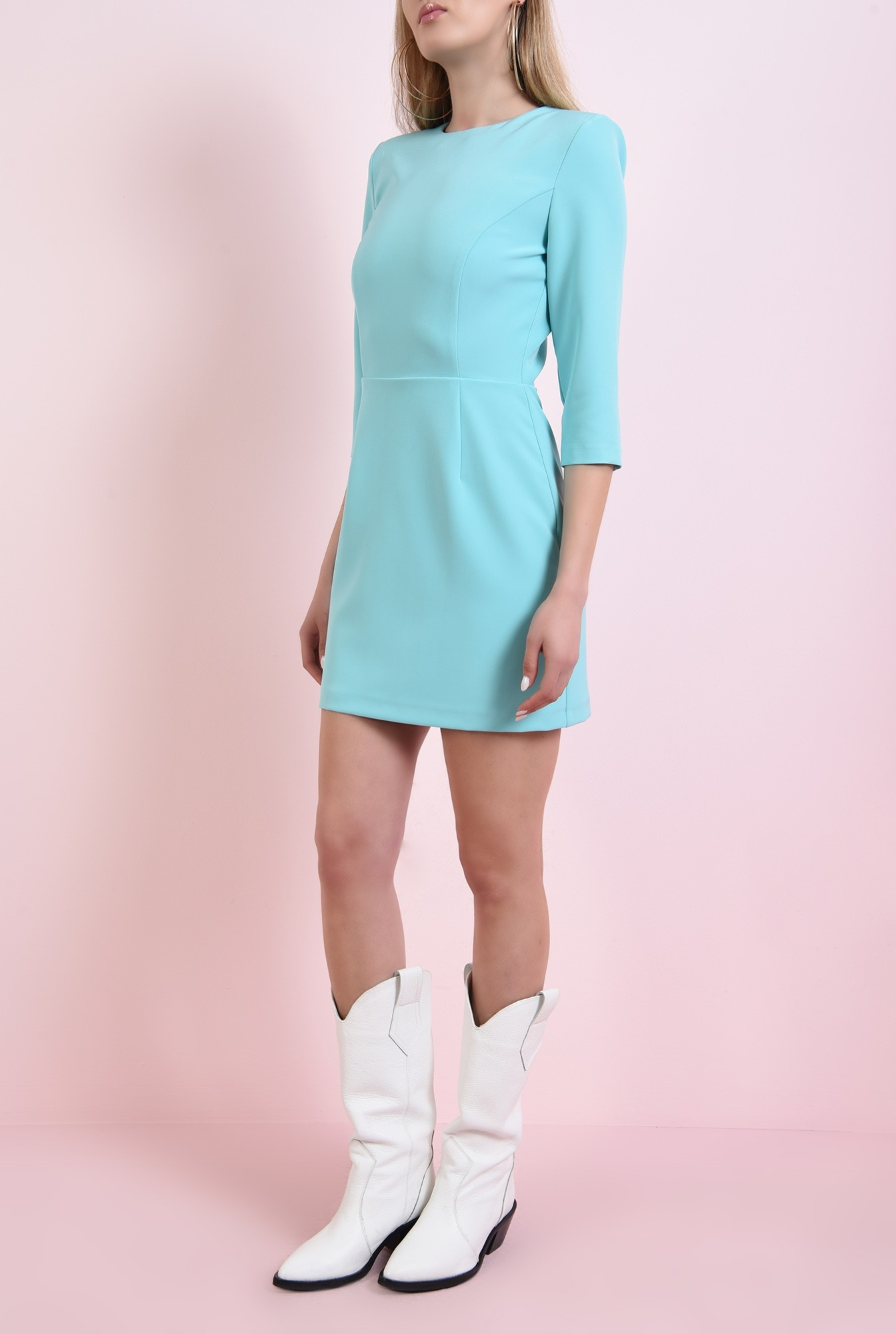3 - 360 - rochie mini, turcoaz, cu decupaj