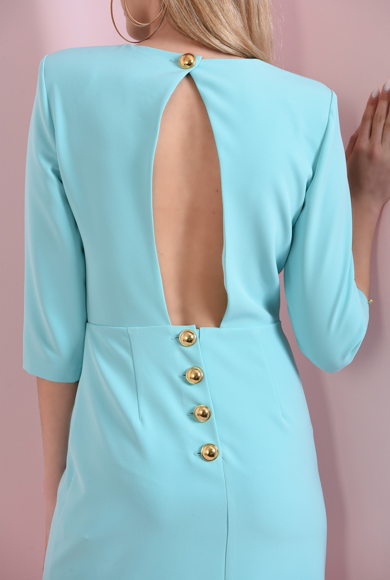 1 - 360 - rochie mini, turcoaz, cu decupaj