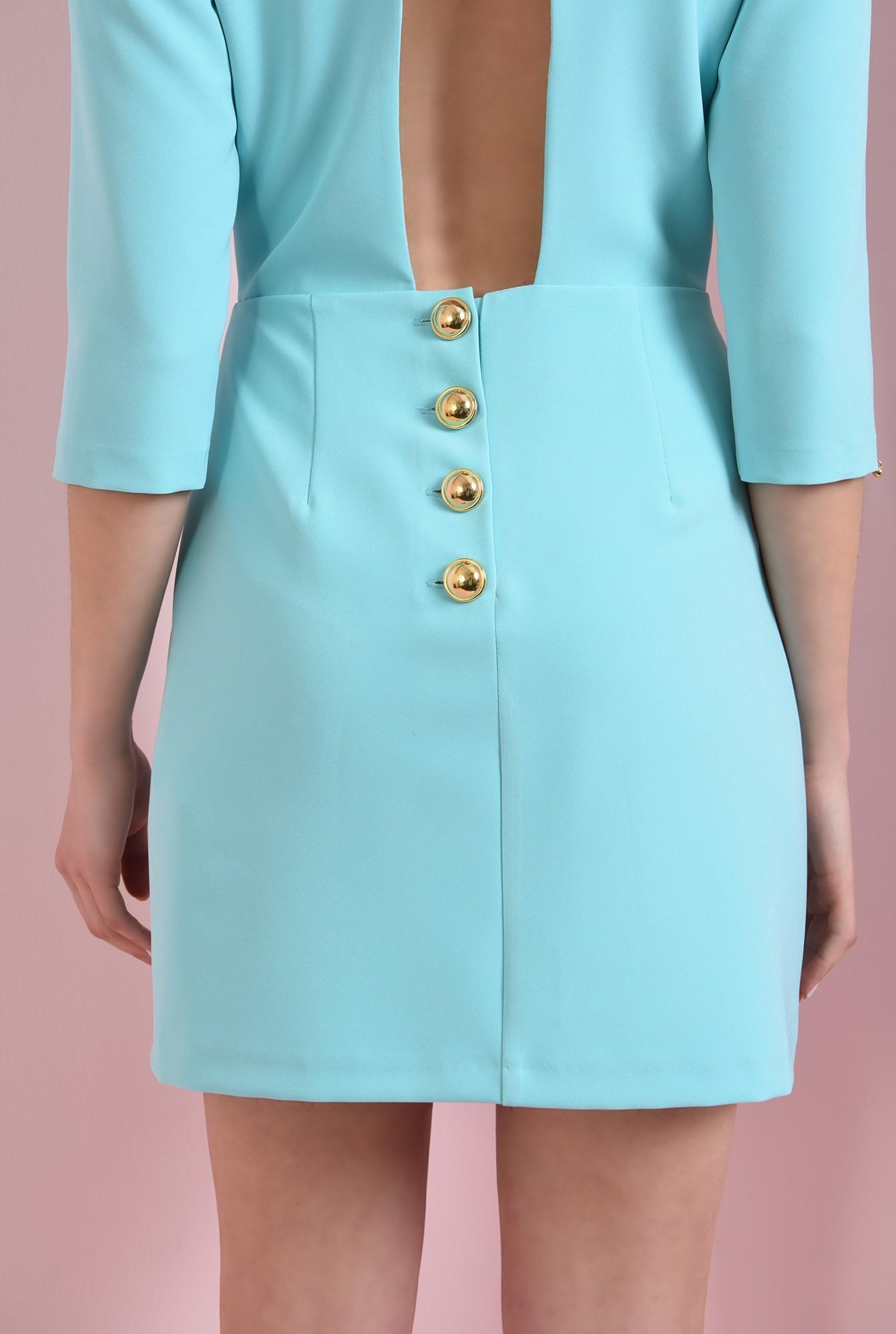 2 - 360 - rochie mini, turcoaz, cu decupaj
