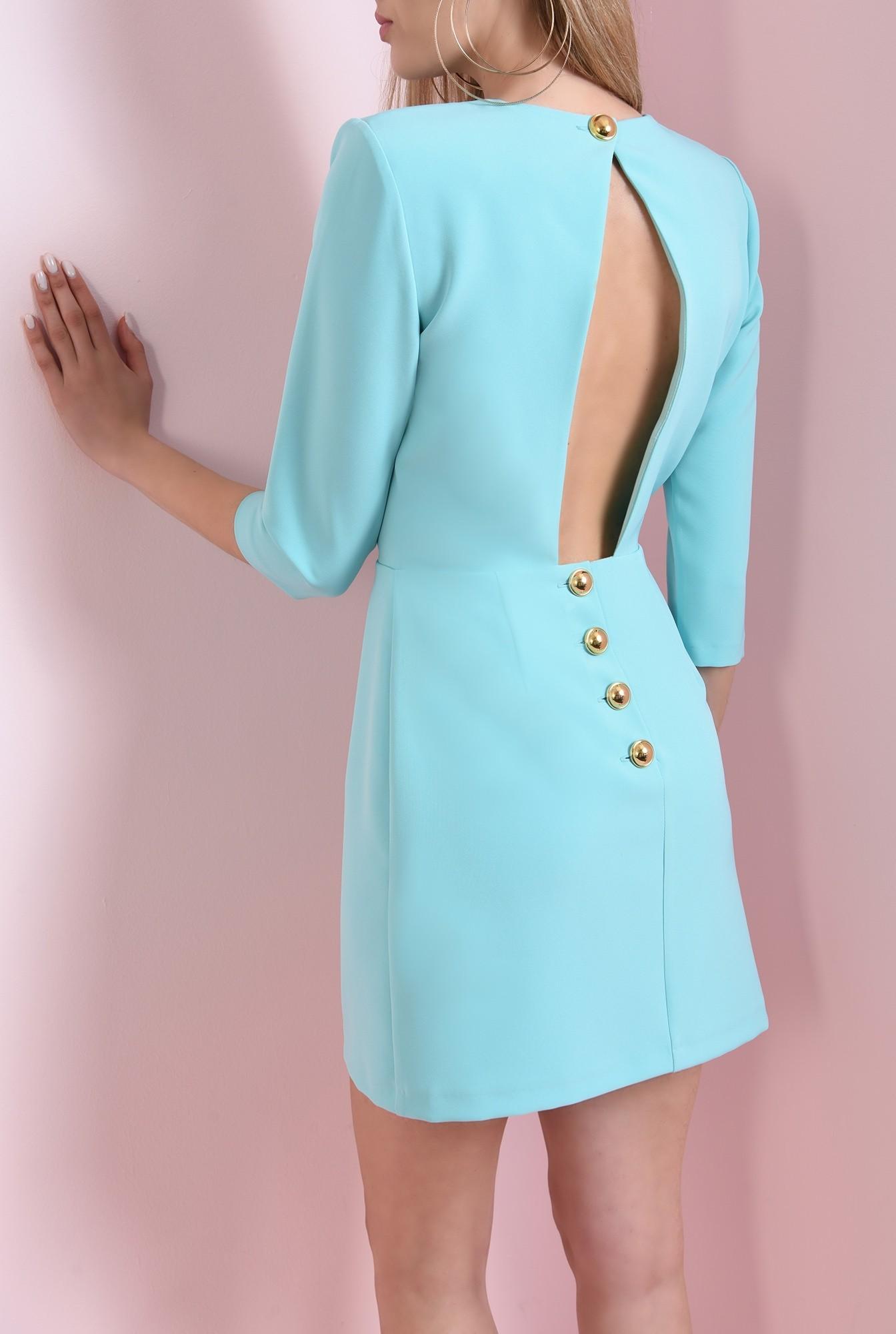 0 - 360 - rochie mini, turcoaz, cu decupaj