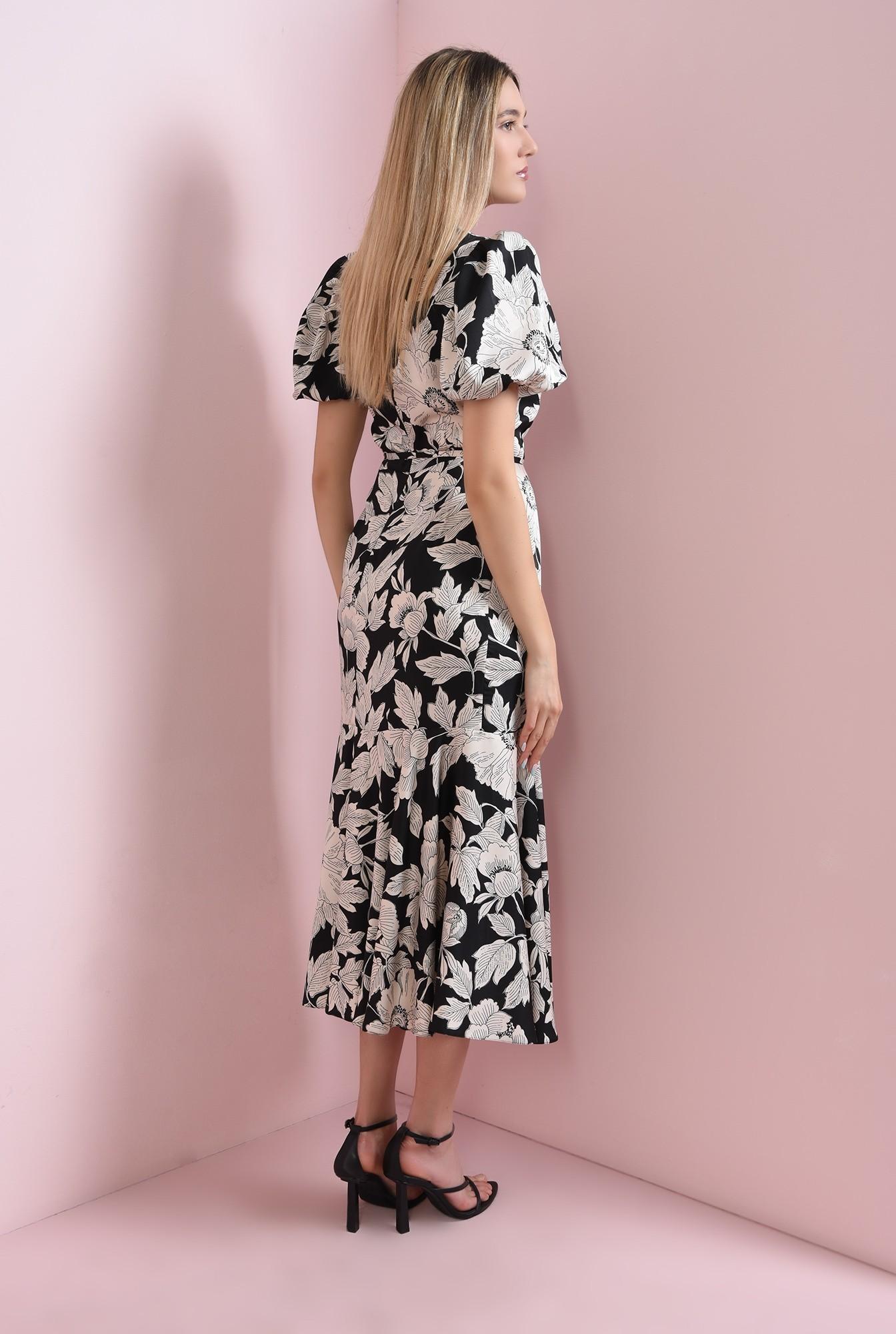 1 - rochie cu imprimeu floral, cu volan