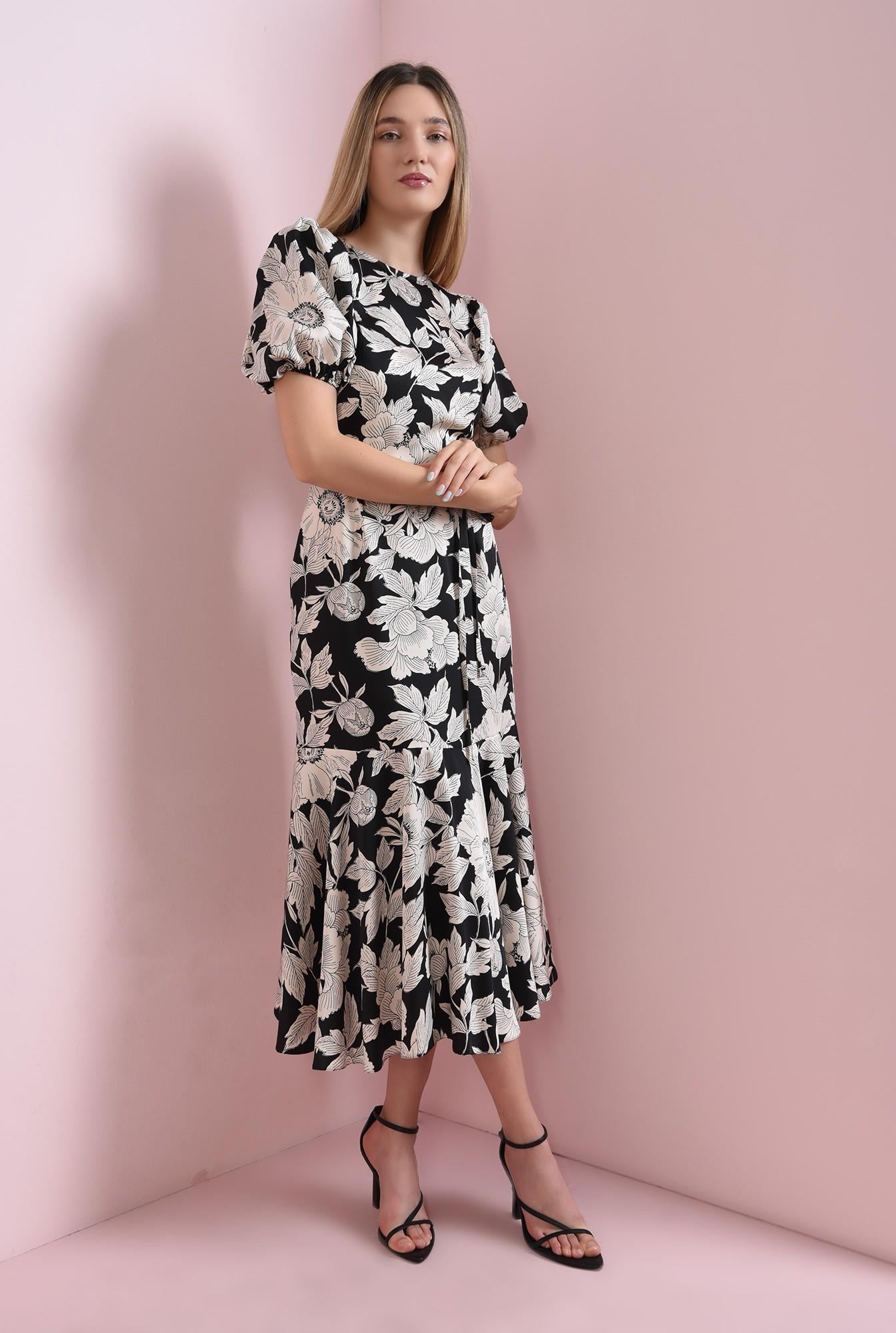 0 - rochie cu imprimeu floral, cu volan