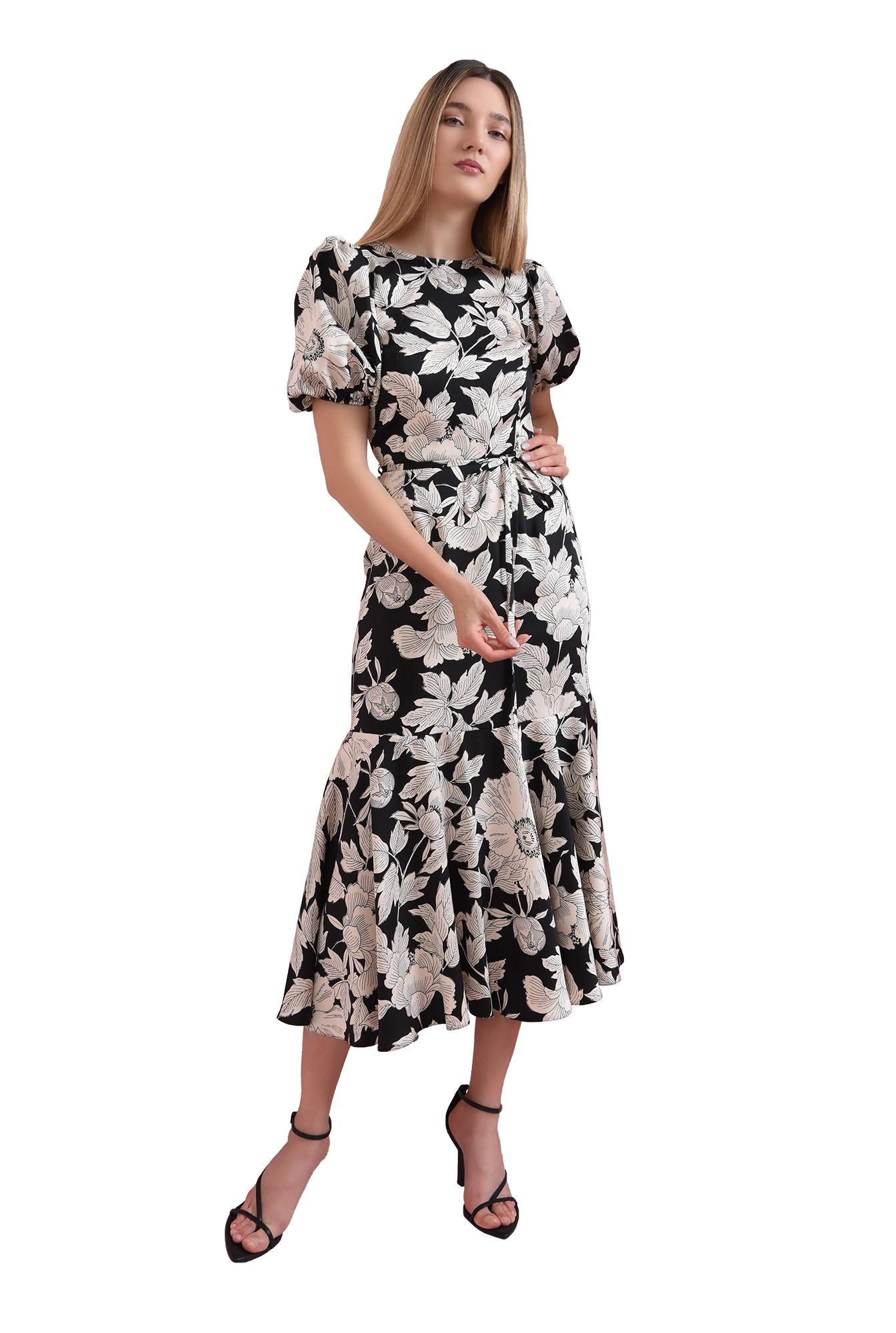 3 - rochie cu imprimeu floral, cu volan