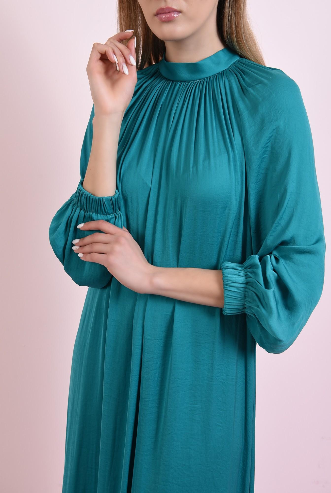 3 - 360 - rochie midi, verde, din satin