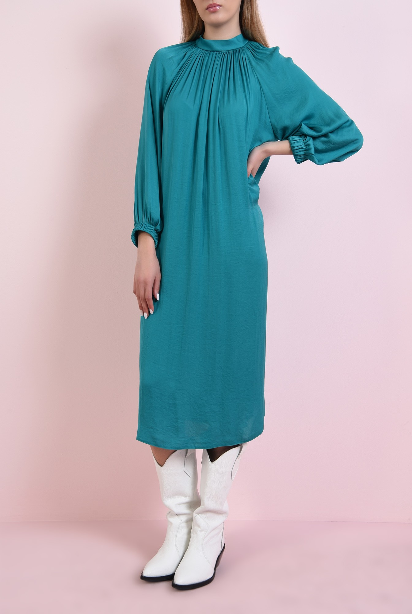 1 - 360 - rochie midi, verde, din satin