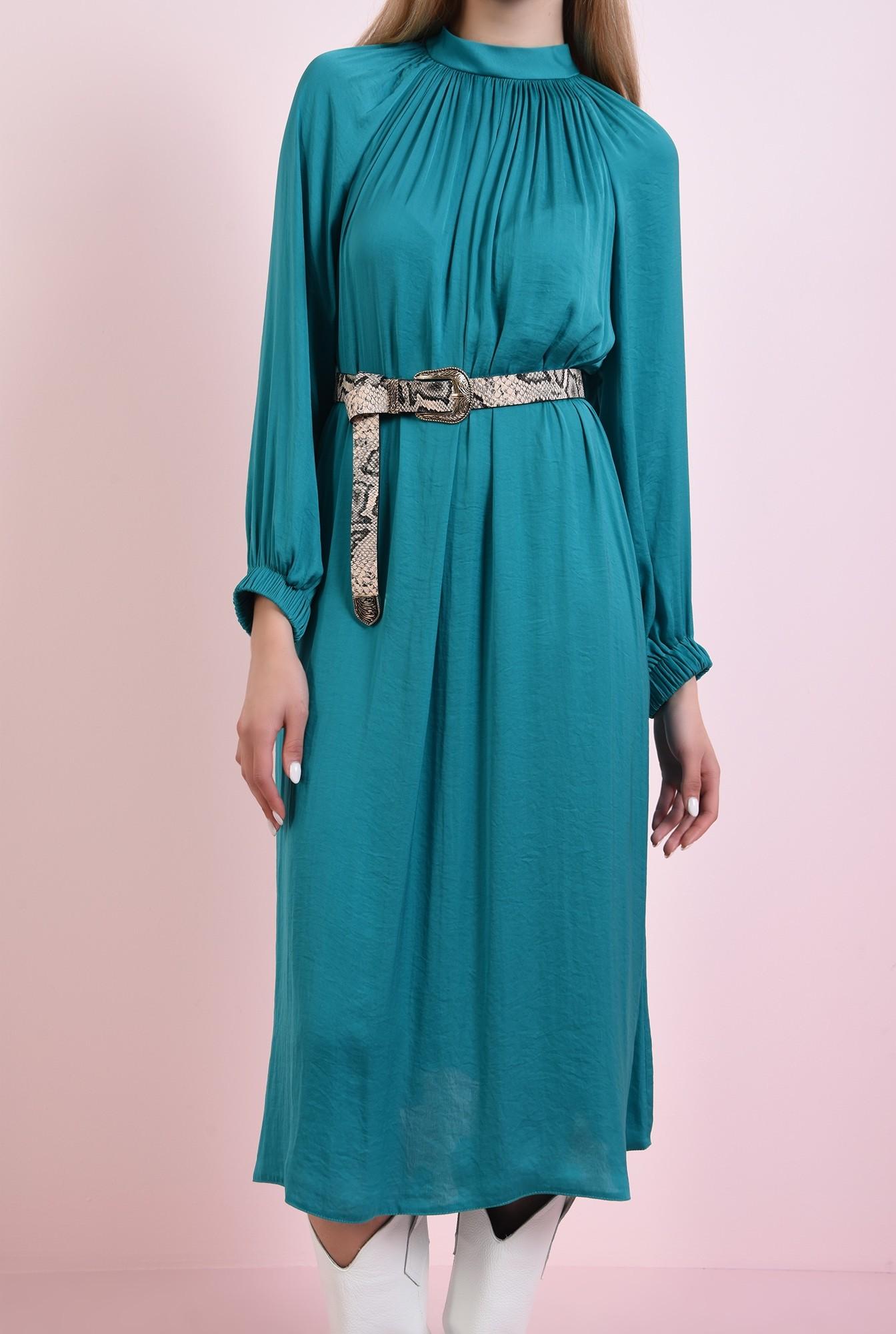 0 - 360 - rochie midi, verde, din satin