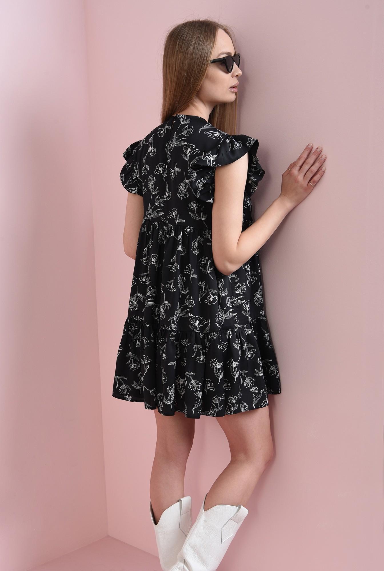 2 - rochie neagra, cu print, cu volan