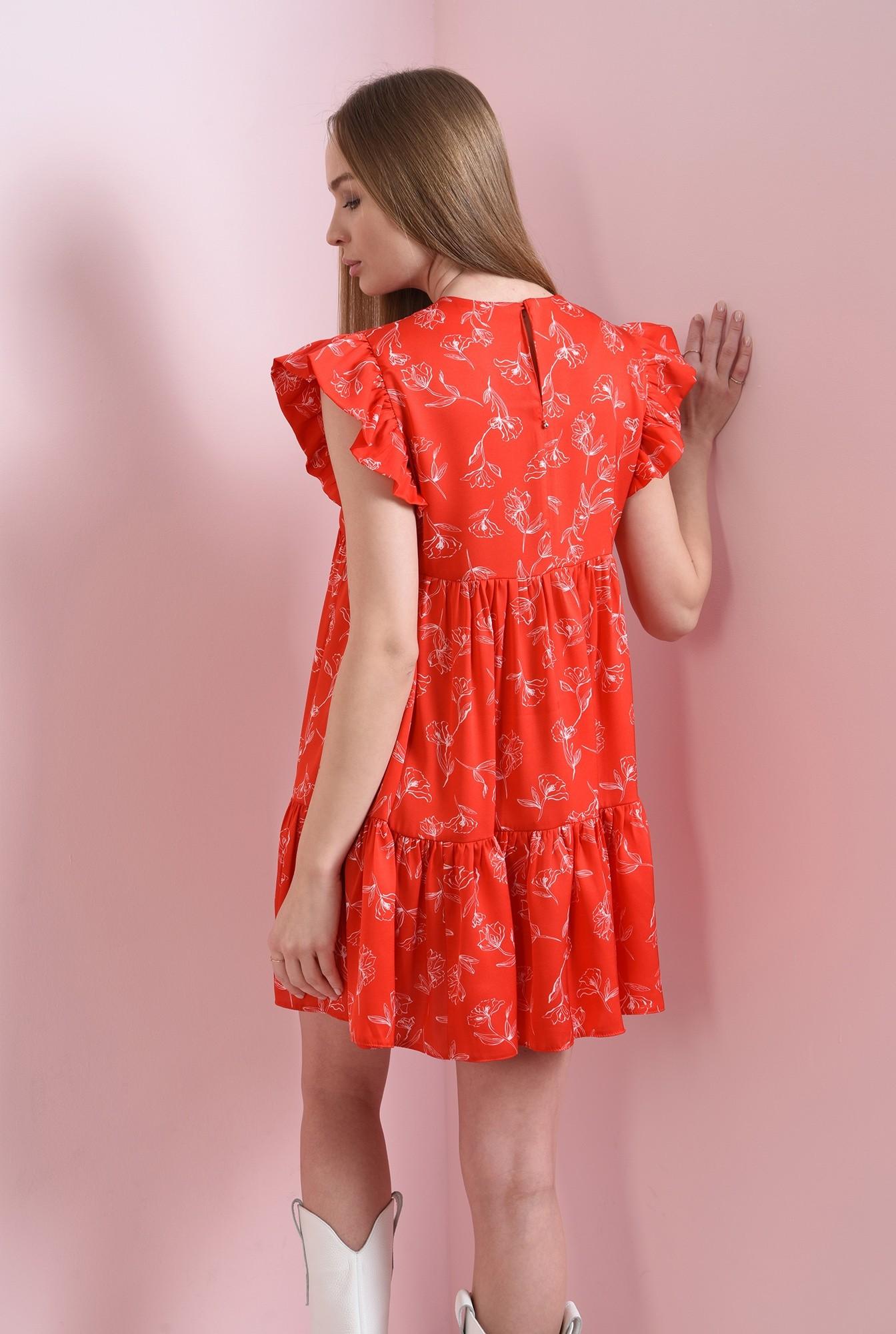0 - rochie rosie, scurta, cu print
